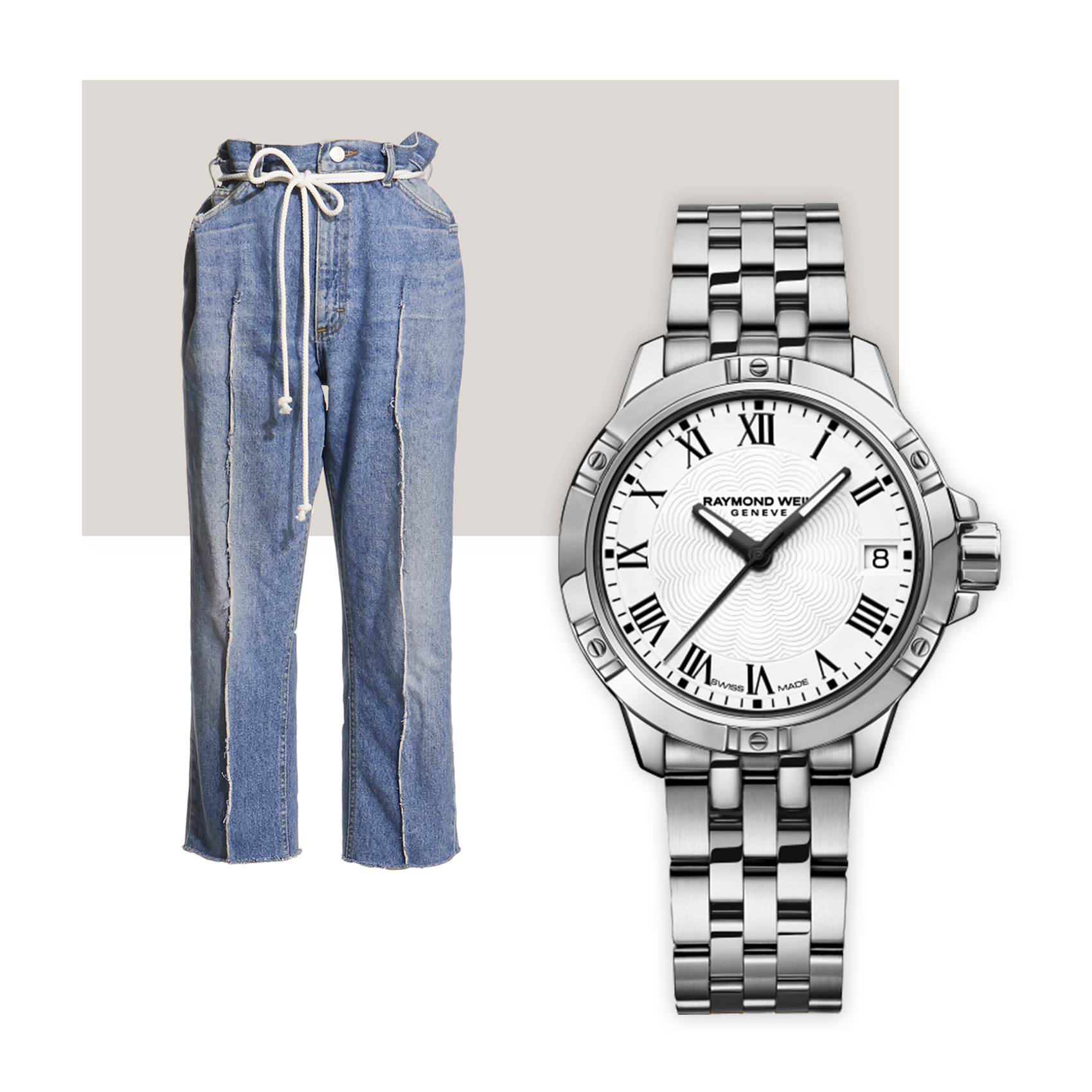 Ji Oh Denim & Raymond Weil Tango Quartz Classic Date Watch - Designer Ji Oh breathed new life into a pair of vintage jeans with the addition of a cinched paper bag waist and a frayed front seam as part of her sustainable fashion mission –a refreshing reminder in the throes of sale season. Pair with a Raymond Weil Tango, a wear-everywhere staple for years to come.Ji Oh jeans, $175; jiohny.com, Raymond Weil watch, $895; troverie.com