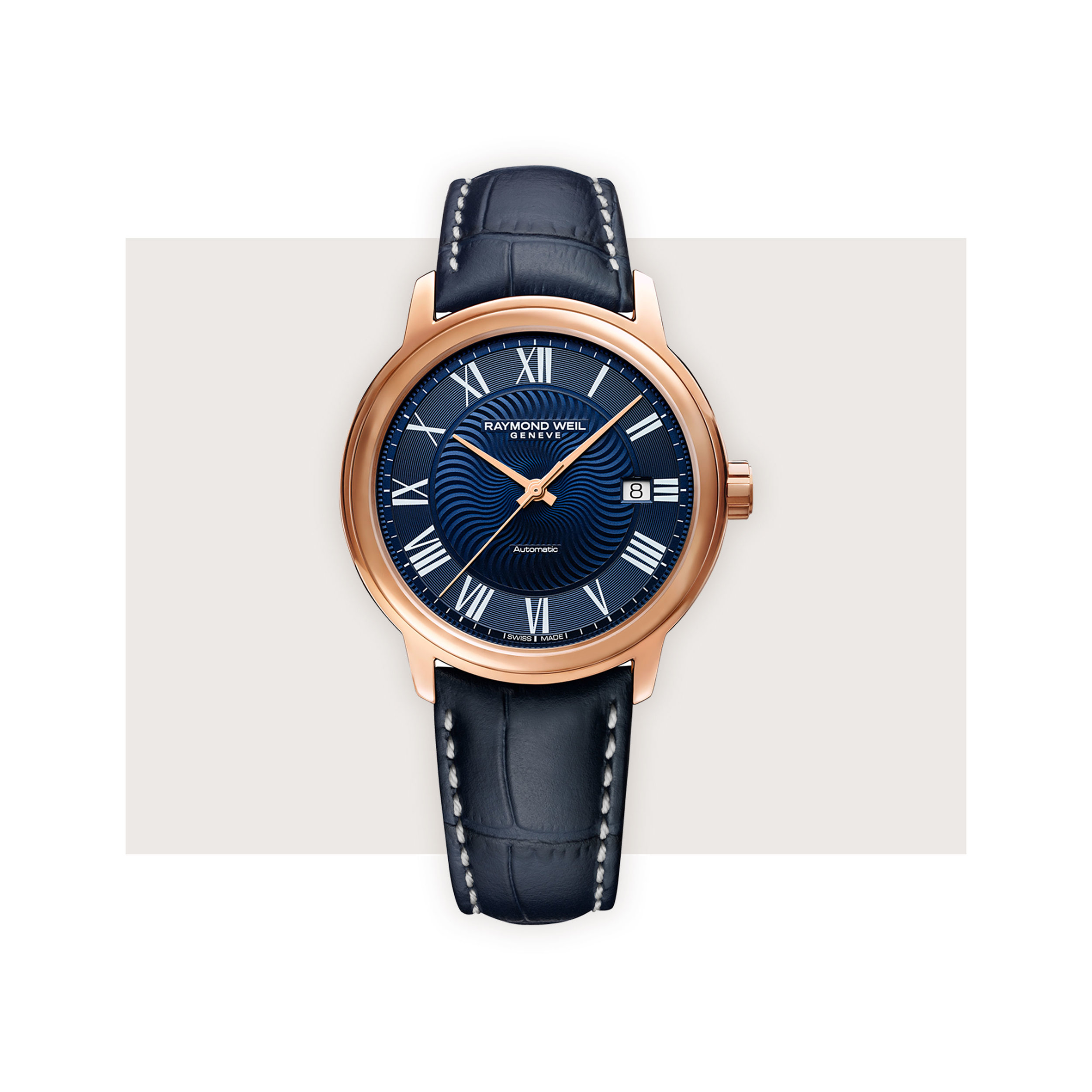 Raymond Weil - Dark blue and rose gold provide a beautiful juxtaposition on Raymond Weil's 40 mm automatic Maestro. The delicate wave like pattern on the dial, which adds just the right amount of detail, is inspired by blues music.Raymond Weil Maestro, $1,290; troverie.com