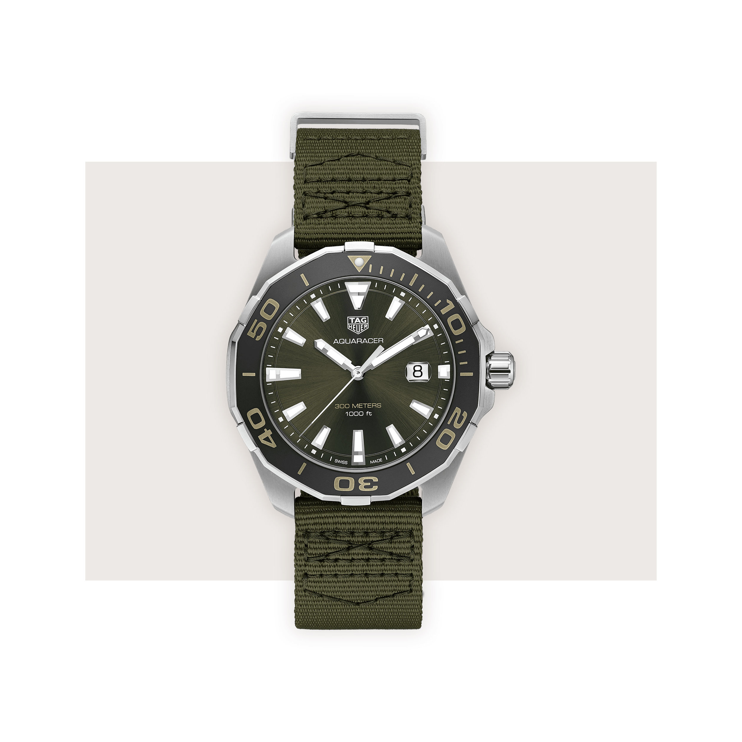 TAG Heuer - A sporty classic gets a military update in Khaki green with a lightweight textile strap. The most off-duty appropriate on our list, the Aquaracer is fittingly water resistant to 300 meters.TAG Heuer Aquaracer, $1,600; troverie.com