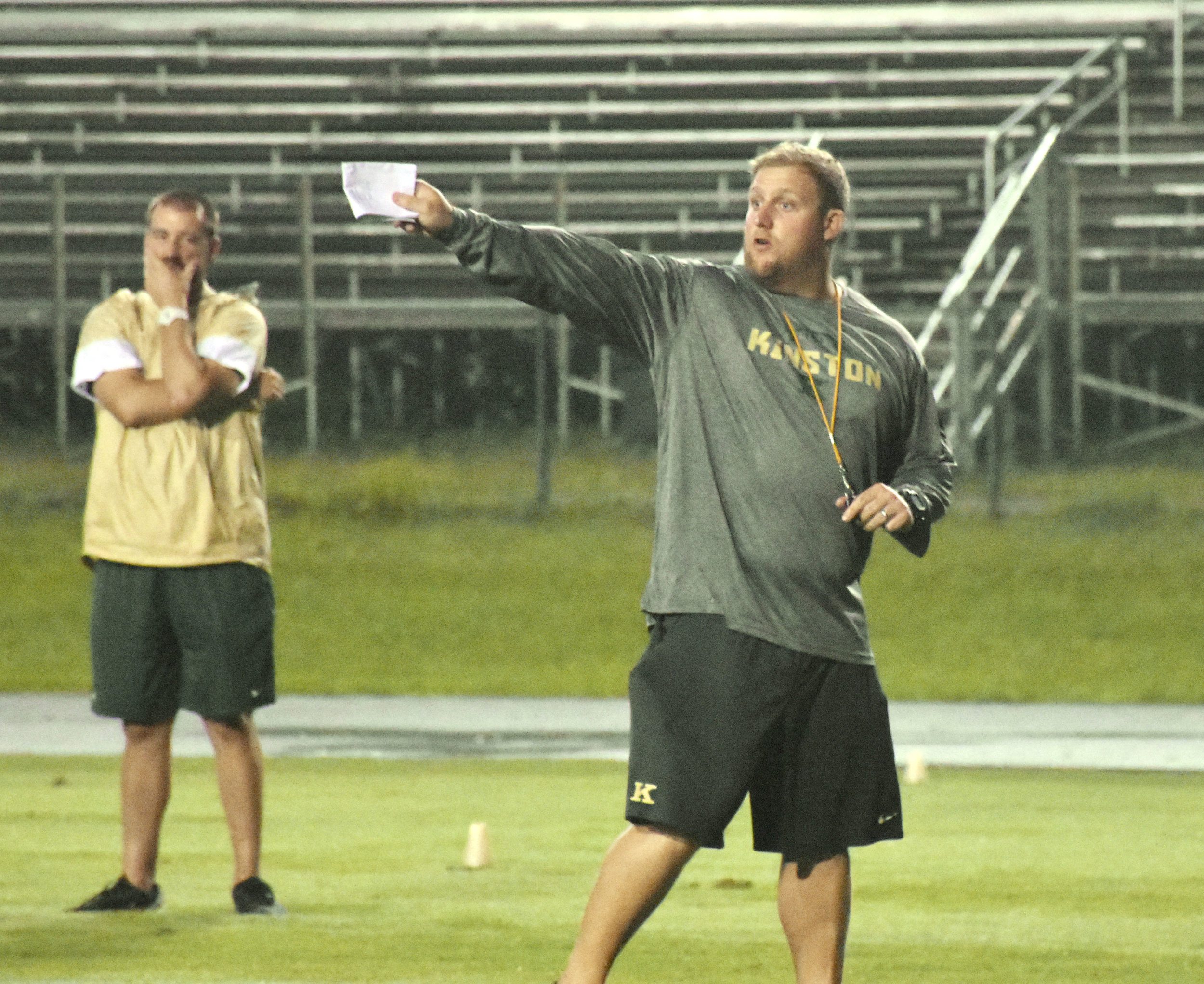 Kinston head coach Ryan Gieselman instructs his team. Photo by Bryan Hanks / Neuse News