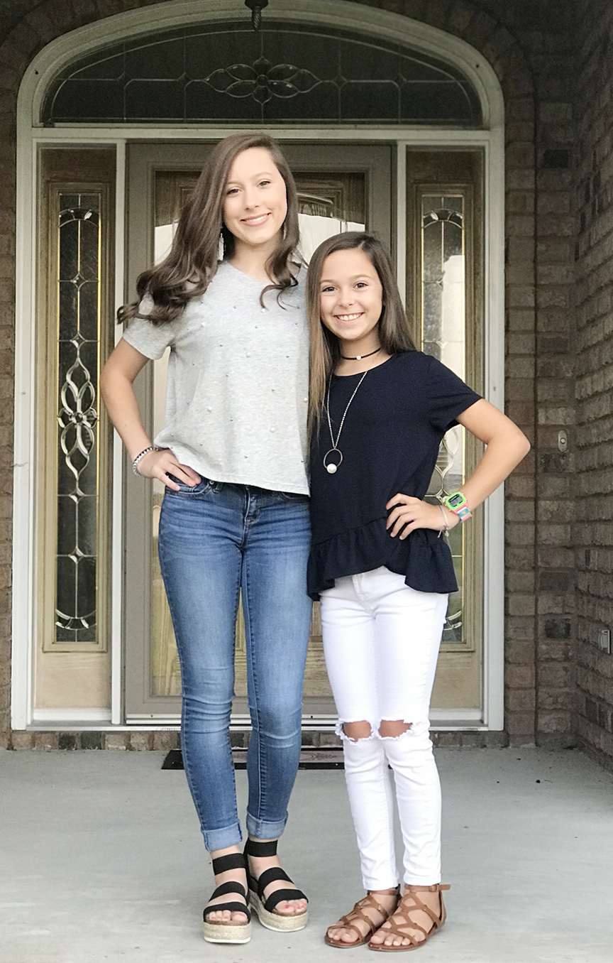Taylor Fussell, left, sophomore, North Lenoir; Macy Fussell, right, sixth-grade, Contentnea-Savannah K-8 School