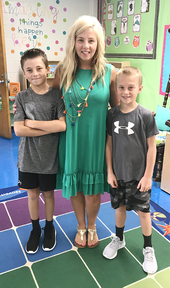 From left, Bryce Arnette, fifth grade, Banks Elementary School; Bobbi Colie, kindergarten teacher, Banks; Brody Arnette, third grade, Banks