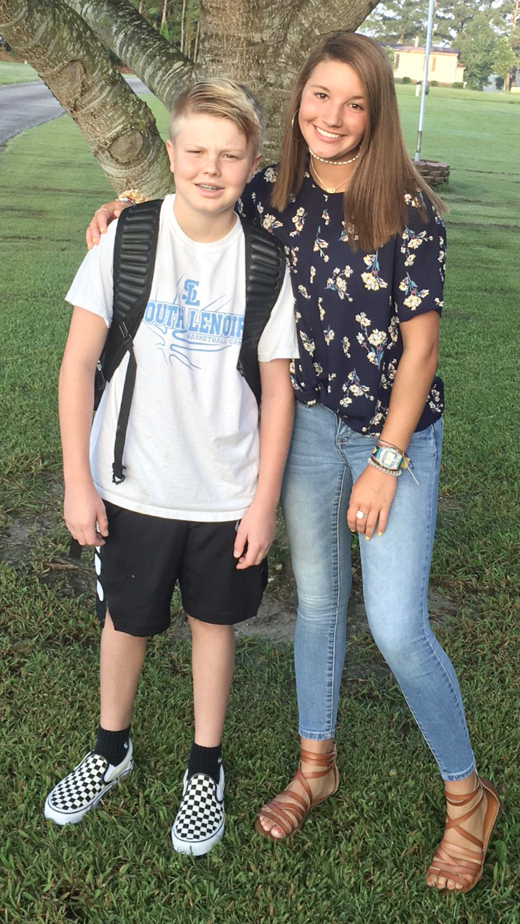 Wyatt Reavis, left, seventh grade, Woodington Middle School; Gracie Reavis, sophomore, South Lenoir High School