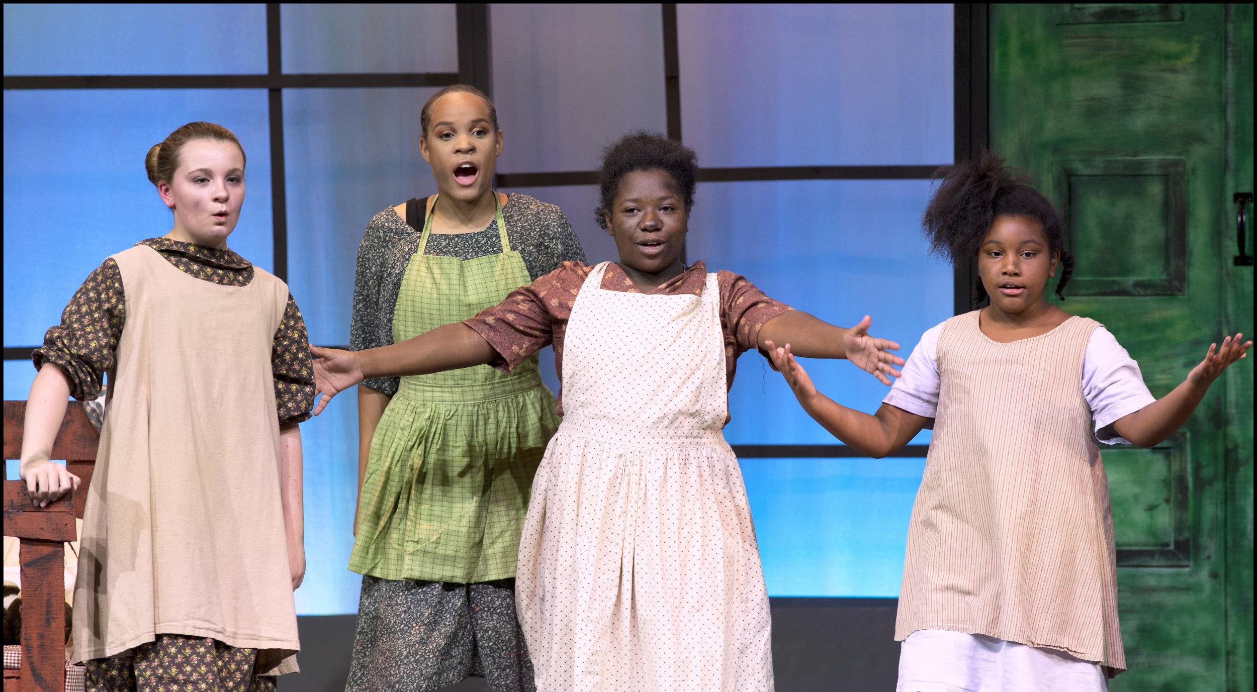 """It's a Hard Knock Life"" orphans pictured left to right are Dayva Sugg, Rebekah Lemon , J'Nyah Corbett and Alisa Washington."