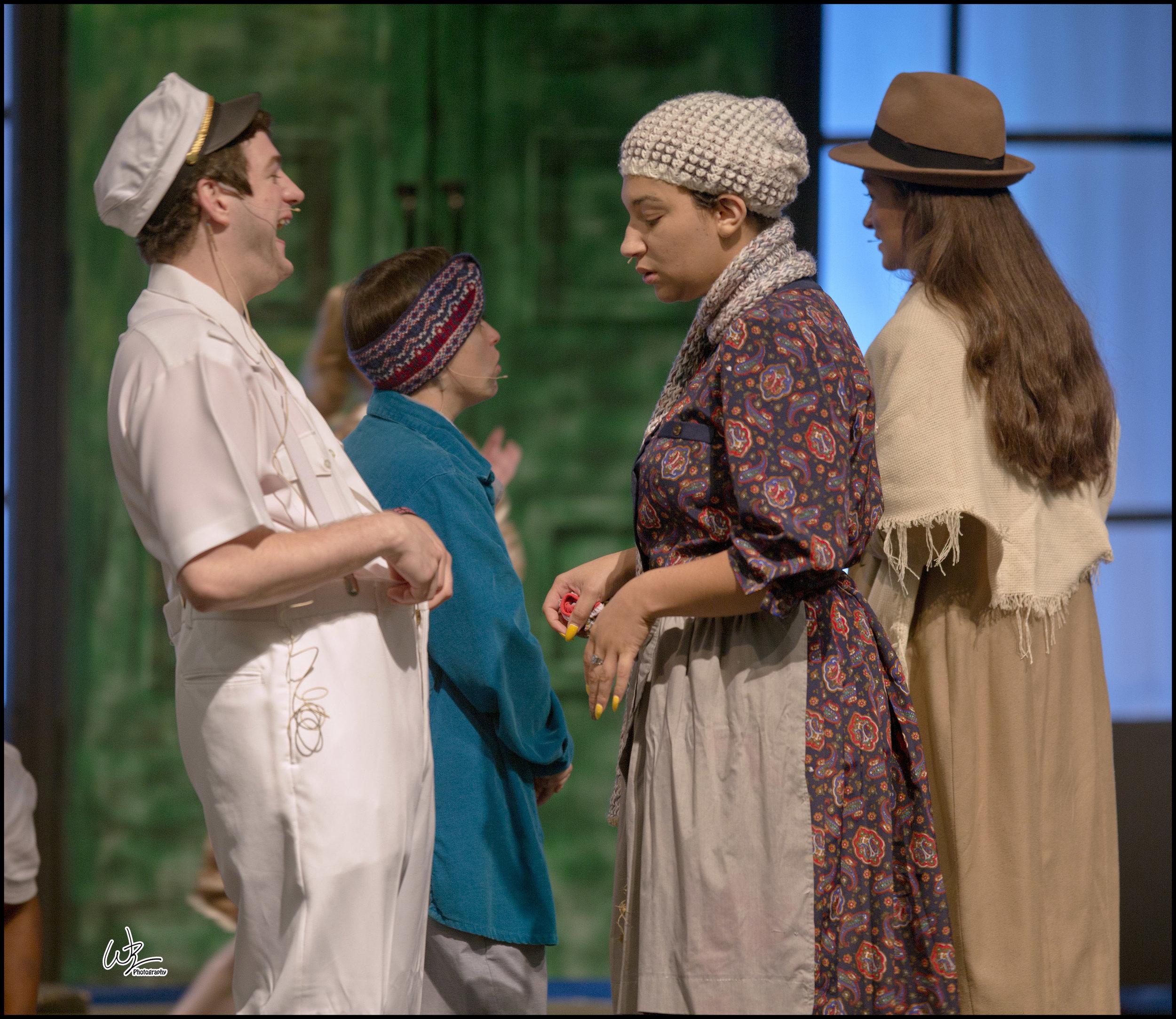 Pictured left to right, taking a break between scenes are Elliott Jones and Madison Warren-Cooms.