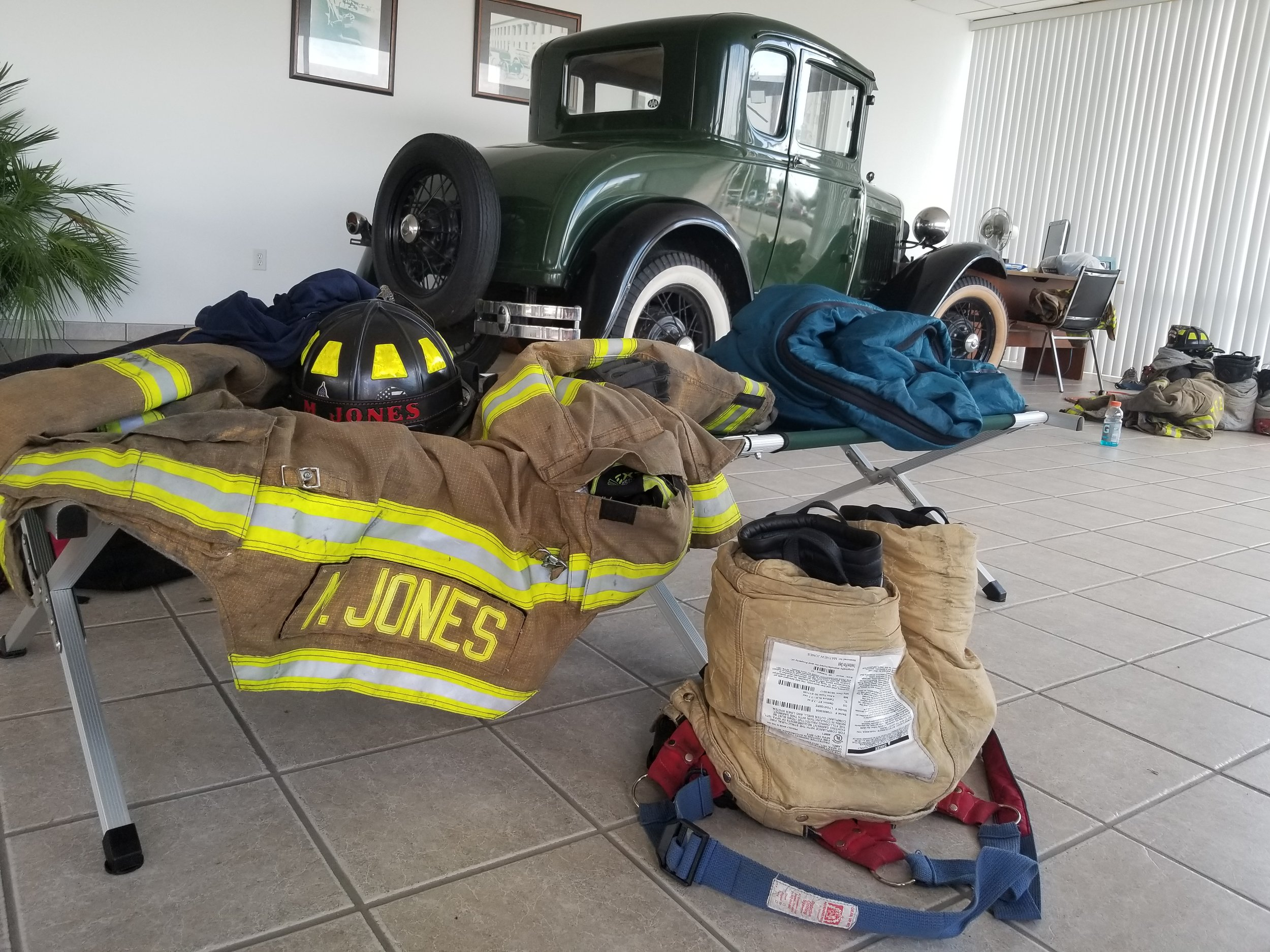 The Trenton Volunteer Fire Department has taken refuge in a makeshift shelter at the Brock Motor Ford dealership. Photo by BJ Murphy / Neuse News