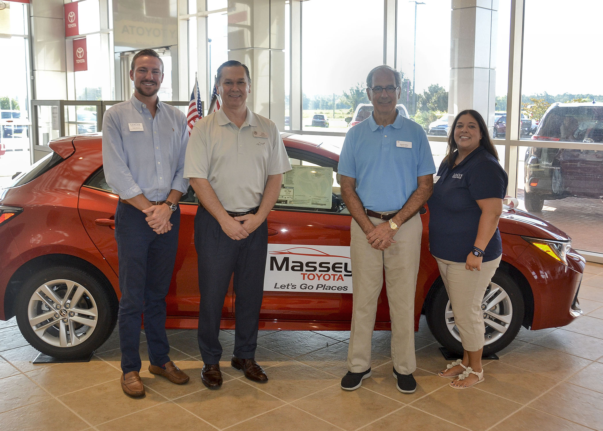 Pictured left to right are Dusk Stroud, LCC Workforce Development Coordinator, Earl Morgan Massey Toyota General Manager, Randy Kelley, President of Massey Toyota and Katherine Pearson, LCC Development Coordinator