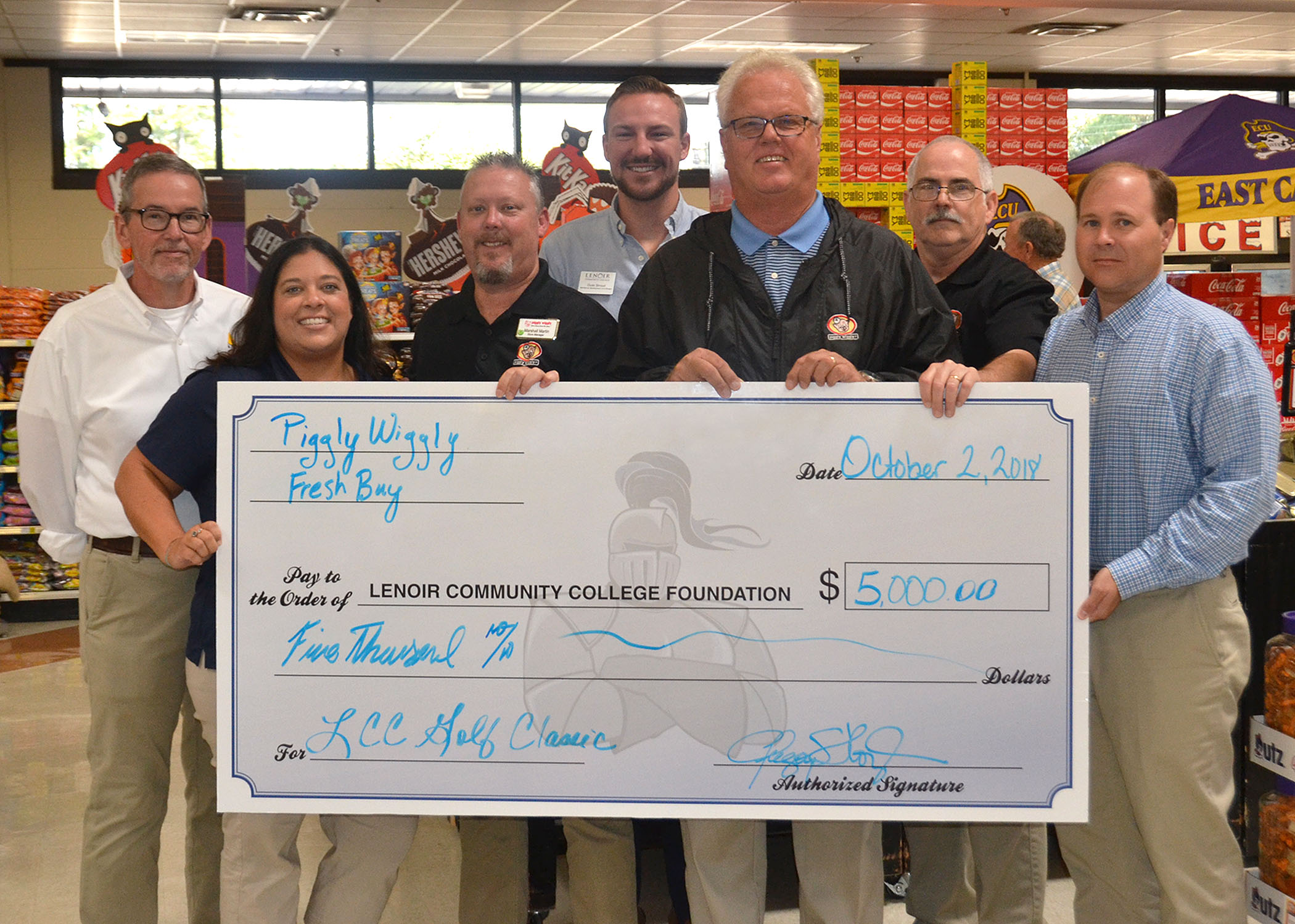 Pictured left to right are Nick Bartlett, Piggly Wiggly Fresh Buy Store Manager – Hwy 258, Katherine Pearson, LCC Development Coordinator, Marshall Martin, Piggly Wiggly Fresh Buy Store Manager – McLewean Street, Dusk Stroud, LCC Workforce Development Coordinator, Jonathan McLawhorn, Piggly Wiggly Fresh Buy Store Manager – Herritage Street, Jeff Lane, Piggly Wiggly Fresh Buy Store Manager – Herritage Street and Greg Floyd, Piggly Wiggly Fresh Buy Store Owner – Hwy 258, McLewean Street and Herritage Street.