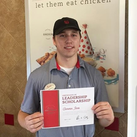 Cameron Jones    Click to connect with Chick-fil-A Kinston to learn more about the scholarships.