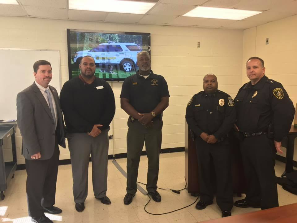 LCPS Superintendent Brent Williams, LCPS Asst. Superintendent Nick Harvey Jr., Sheriff Ronnie Ingram, Chief Alonzo Jaynes and Major Tim Dilday. Photo by LCSO.