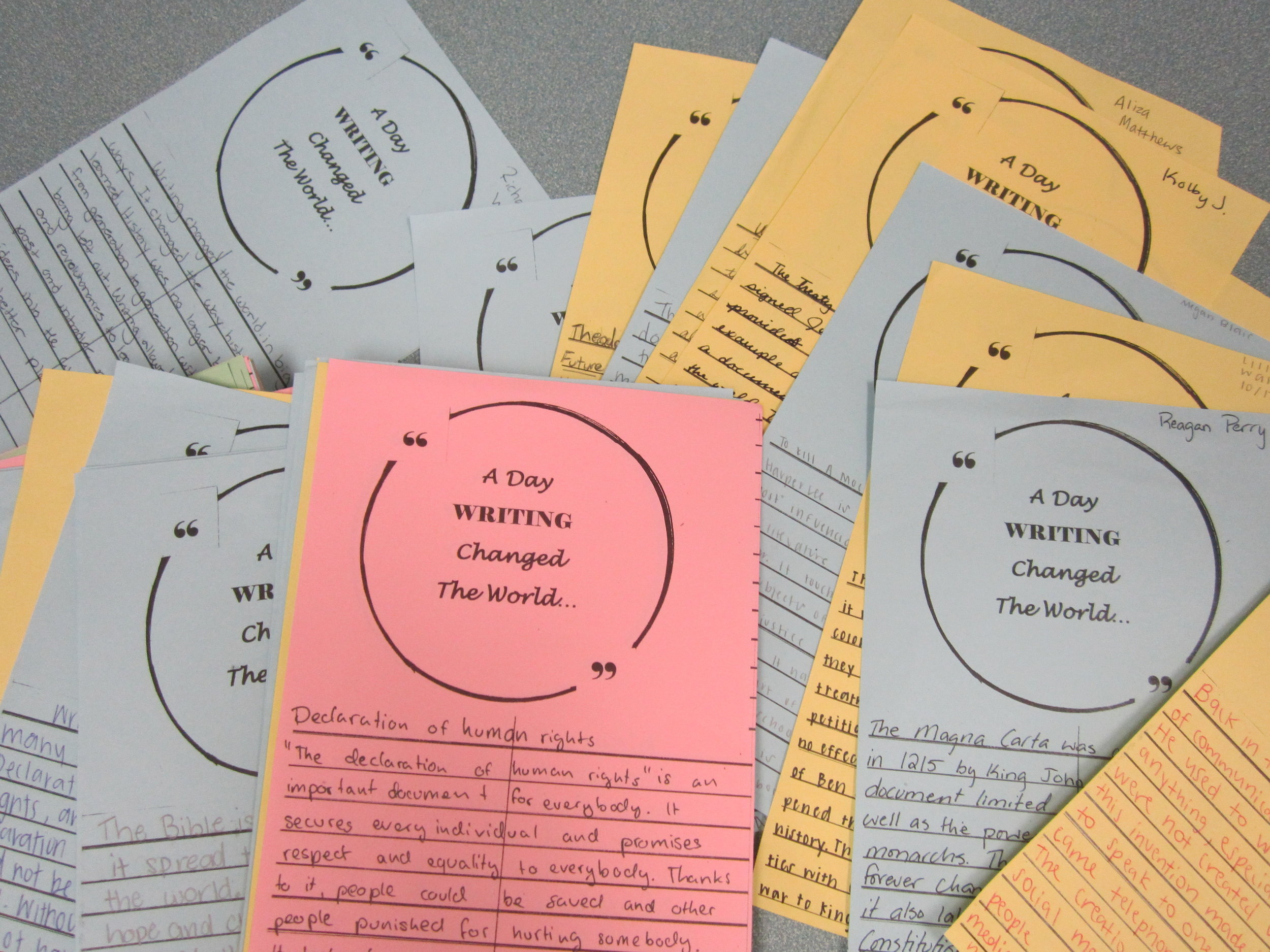 """APA middle and high school students wrote colorful responses to describe """"A Day Writing Changed the World."""""""