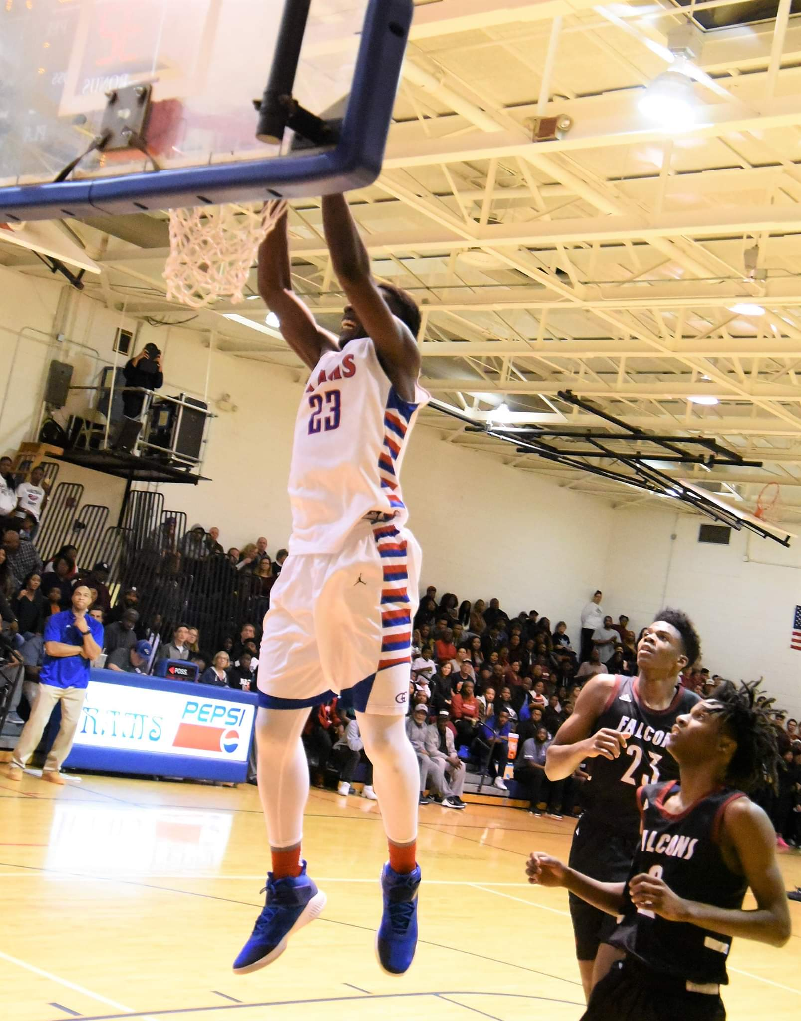 """Greene Central's Imajae Dodd slams home two of his team-high 20 points in Tuesday's loss to South Central. Photo by William """"Bud"""" Hardy / Neuse News"""