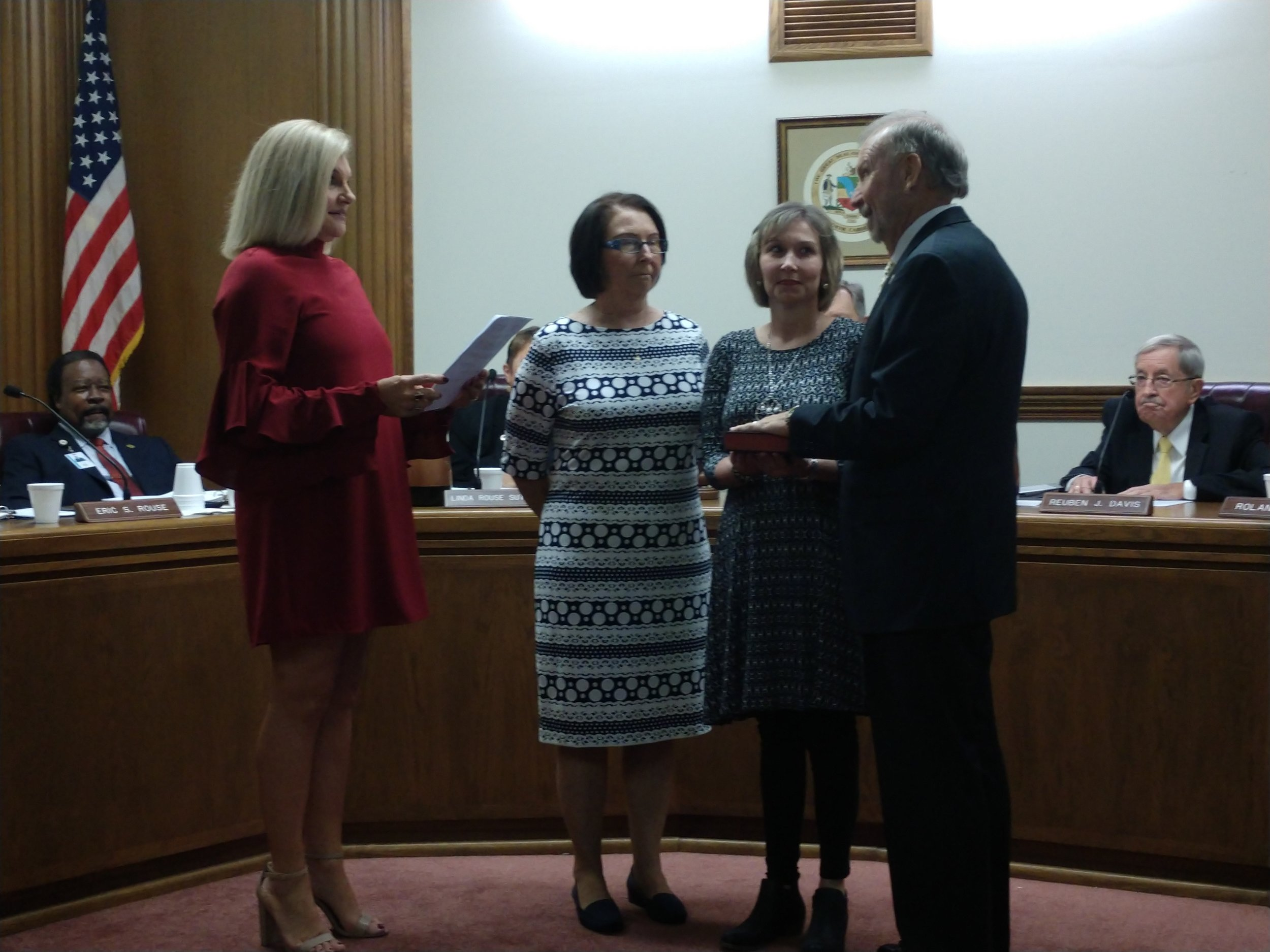 J. Mac Daughety was sworn into office of the Lenoir County Board of Commissioners Monday by Lenoir County Clerk of Courts Dawn Stroud, far left. Next to Daughety is his daughter, Leigh, and wife, Deborah. Photo by Junious Smith III / Neuse News