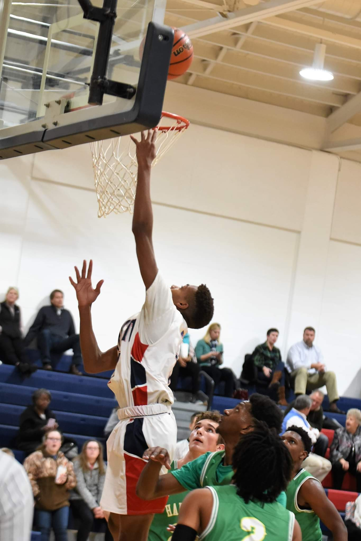 """Arendell Parrott's Jaquan Mosley had a monster game with 18 points, 21 rebounds and three blocks Thursday. Photo by William """"Bud"""" Hardy / Neuse News"""
