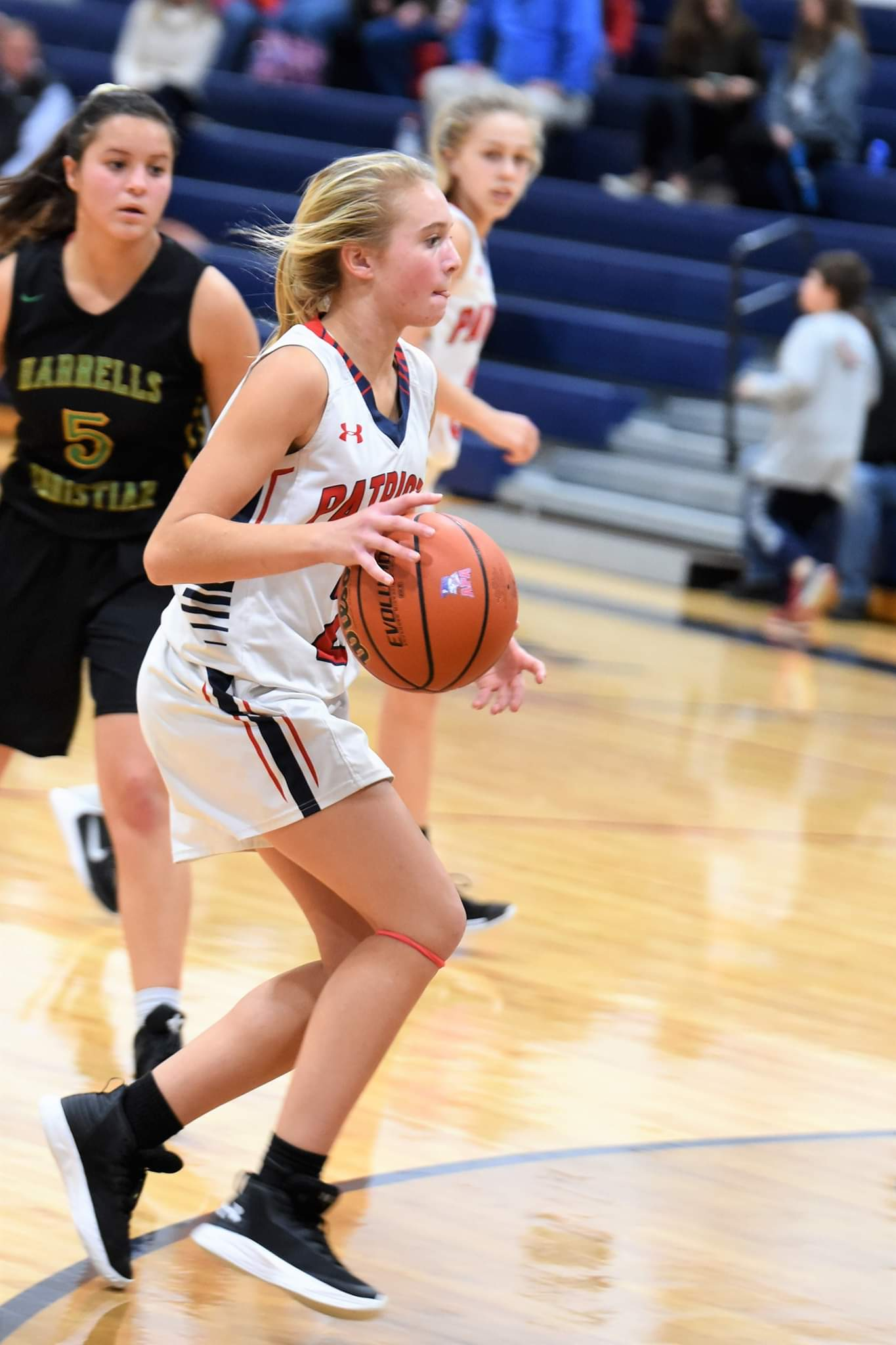 """Arendell Parrott's Ava Blair drives to the basket in a victory over Harrells Christian Thursday. Photo by William """"Bud"""" Hardy / Neuse News"""