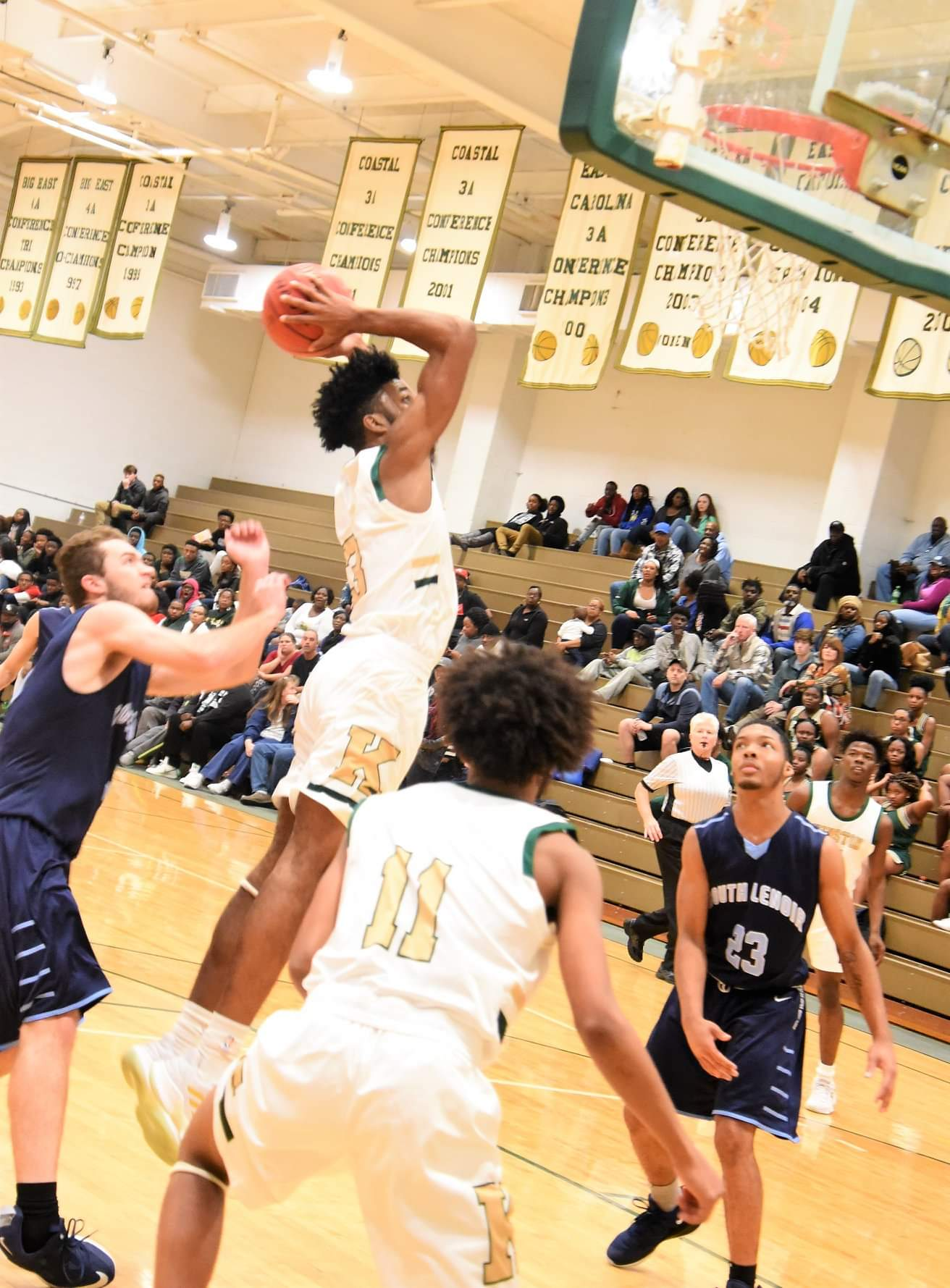 """Kinston's Dontrez Styles prepares to slam one home against South Lenoir in Monday's contest. Photo by William """"Bud"""" Hardy / Neuse News"""