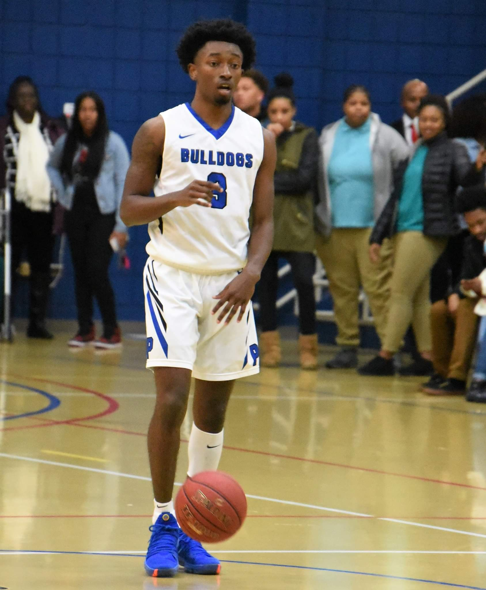 """Pitt Community College's Taji Moore got the start in Wednesday's game against Lenoir Community College and made a big impact in the Bulldogs' win. Photo by William """"Bud"""" Hardy / Neuse News"""