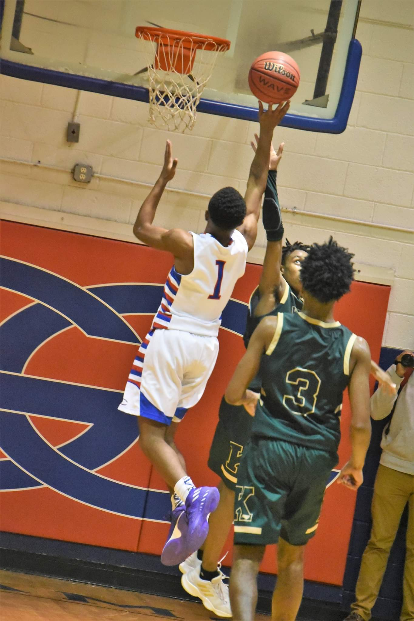 "Greene Central's B.J. Corbitt goes up for a basket during Friday's contest with Kinston. Photo by William ""Bud"" Hardy / Neuse News"