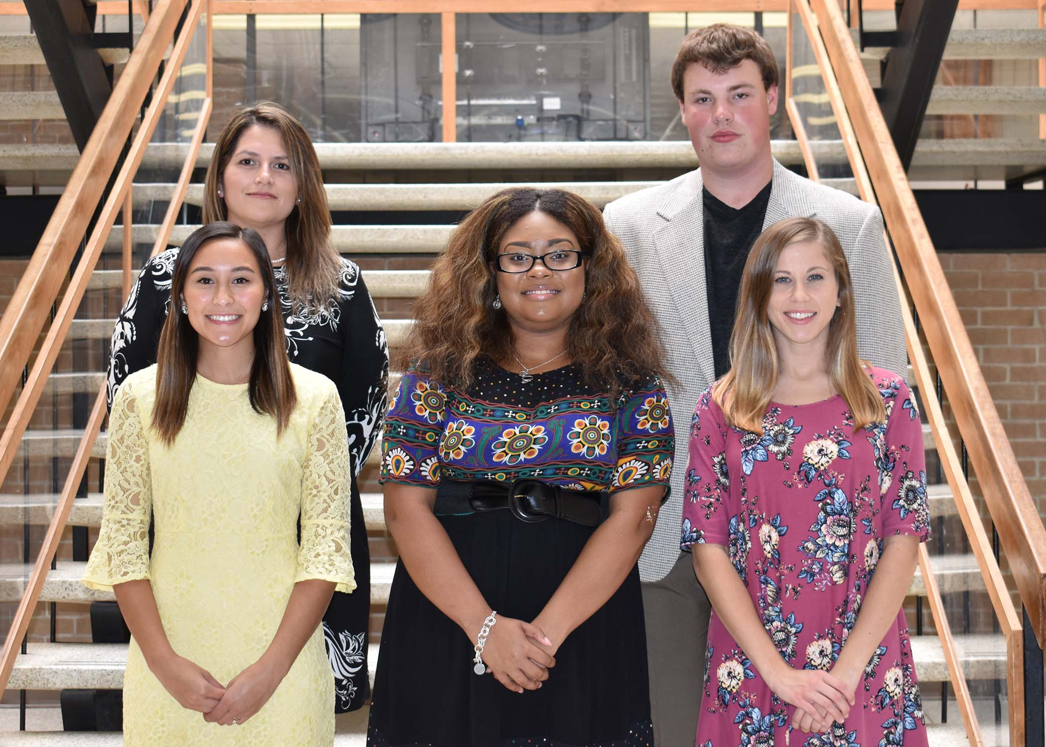 Pictured left to right are Jaide Schultz of New Bern, Harriet Taylor Herring LPN Scholarship; Briana Godette of Kinston, Richard and Edna Whaley Scholarship; and Hannah Turner of Pink Hill, Glenn F. and Joyce Gilbert Cherry Scholarship; back row, Angelica Nunez of Kinston, Nell and Ford Dabney Scholarship; and Kevin Williets Jr. of Winnabow, Jack P. Hankins Scholarship.