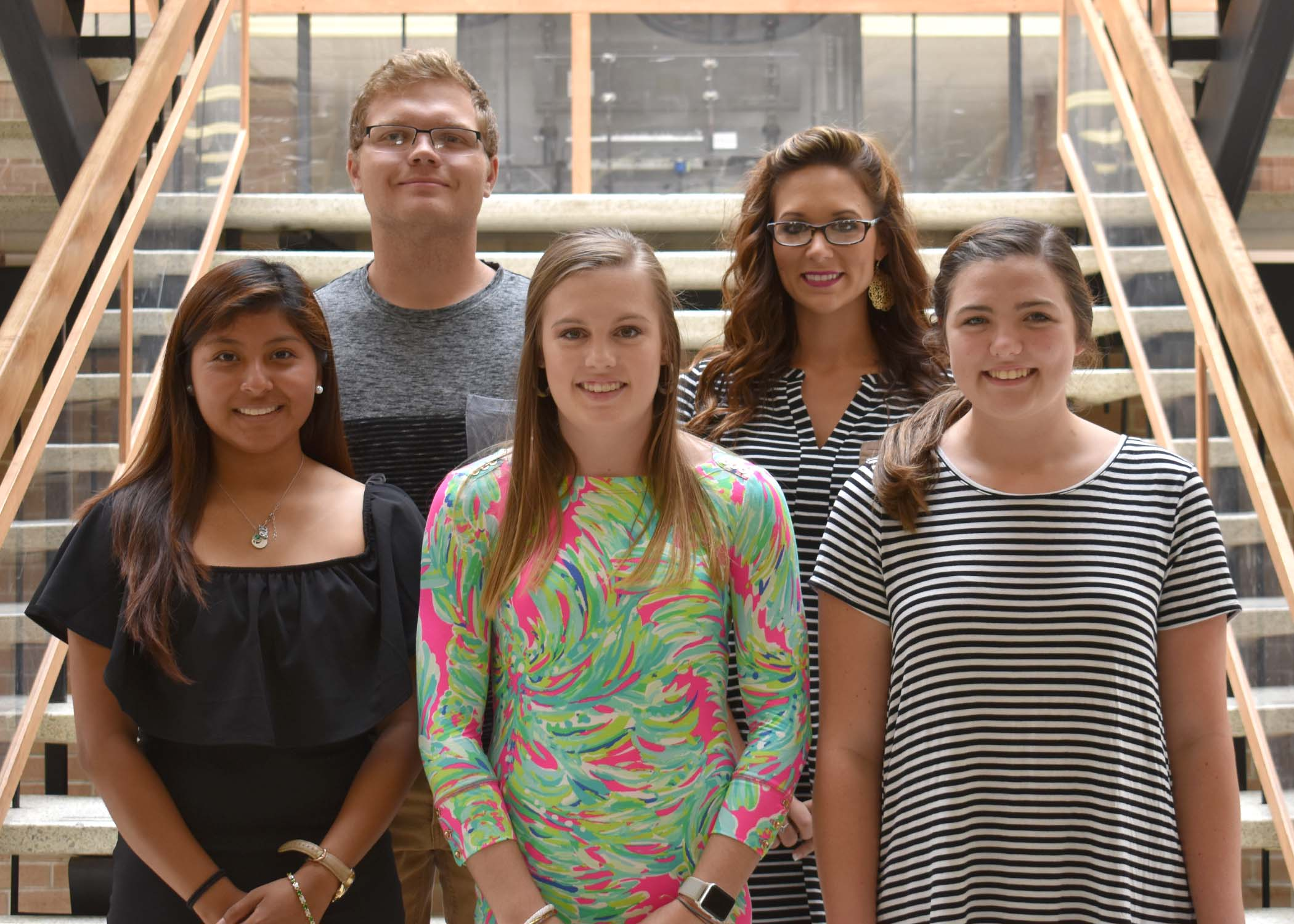 Pictured left to right are Yesica Lopez Lorenzo of Seven Springs, Wells Fargo Scholarship; Kayla Grady of Kinston, Emily Brown Tripp Scholarship; and Kelsey Worthington of Ayden, Kenneth and Lou Ann Tetterton Scholarship; back row, Cody Ladich of Pink Hill, Kenneth and Lou Ann Tetterton Scholarship; and Ashlee Townsend of Ayden, Sue Marcon Jones Memorial.