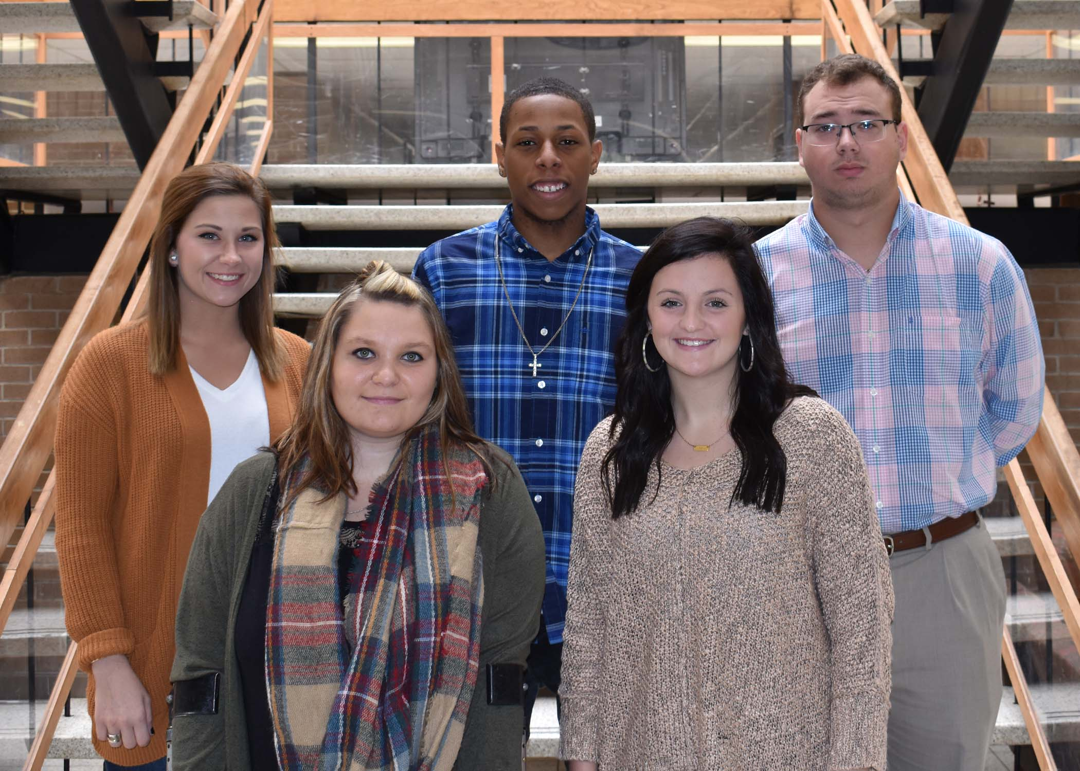 Pictured left to right are Alena Carter of Snow Hill, Russell Curtis Hill Memorial; Allison Hill of Mount Olive, W. Robert and Suzanne S. Bizzell Health Sciences Scholarship; Back Row, Logan Dawson of Kinston, Stephanie M. Jones Memorial; Tylik Hicks of Kinston, Lynwood C. and Grace J. Turner Memorial; Jeremy Rouse of Snow Hill, Hodges Family Scholarship.
