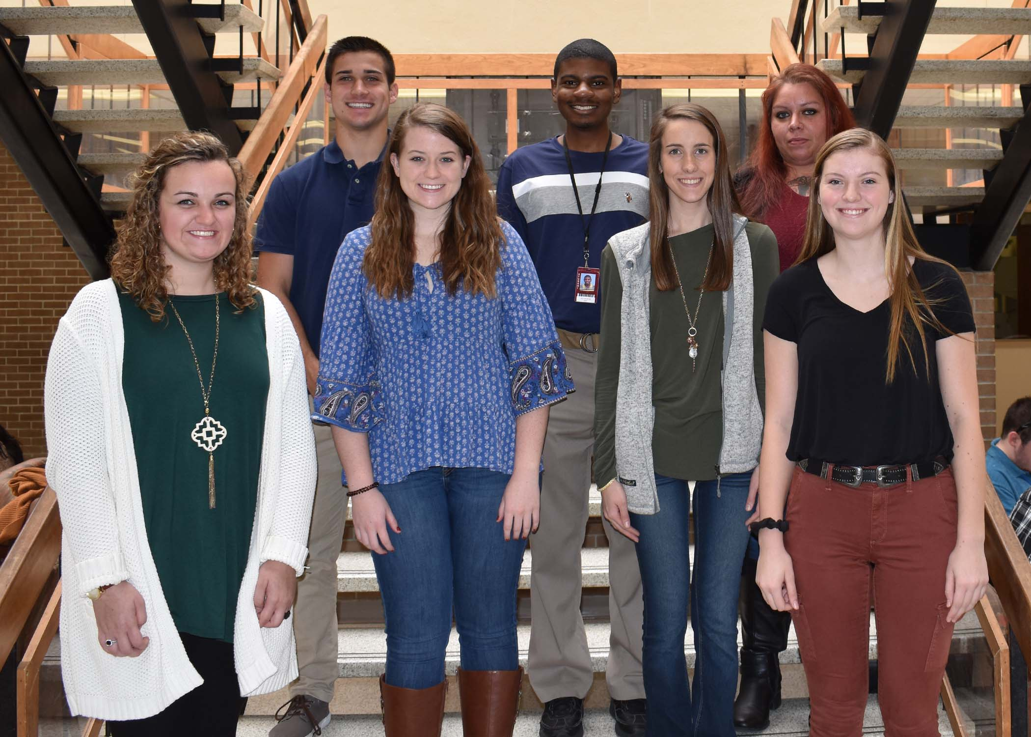 Pictured left to right are Emily Hill of Kinston, Mildred Dare Blizzard Scholarship; Kelsey Neathery of La Grange, UNC - Lenoir Healthcare; Kimberly Radford of Pink Hill, LCC Guarantee Scholarship; Toree Marak of Goldsboro, The Schechter Scholarship; Back Row, Nathan Zeagler of Deep Run, Byrd's Restaurant Scholarship; Rodrick Sutton of Goldsboro, E. Fred and Louise Moore Scholarship; Laura Smith of Seven Springs, Rodriguez Scholarship.