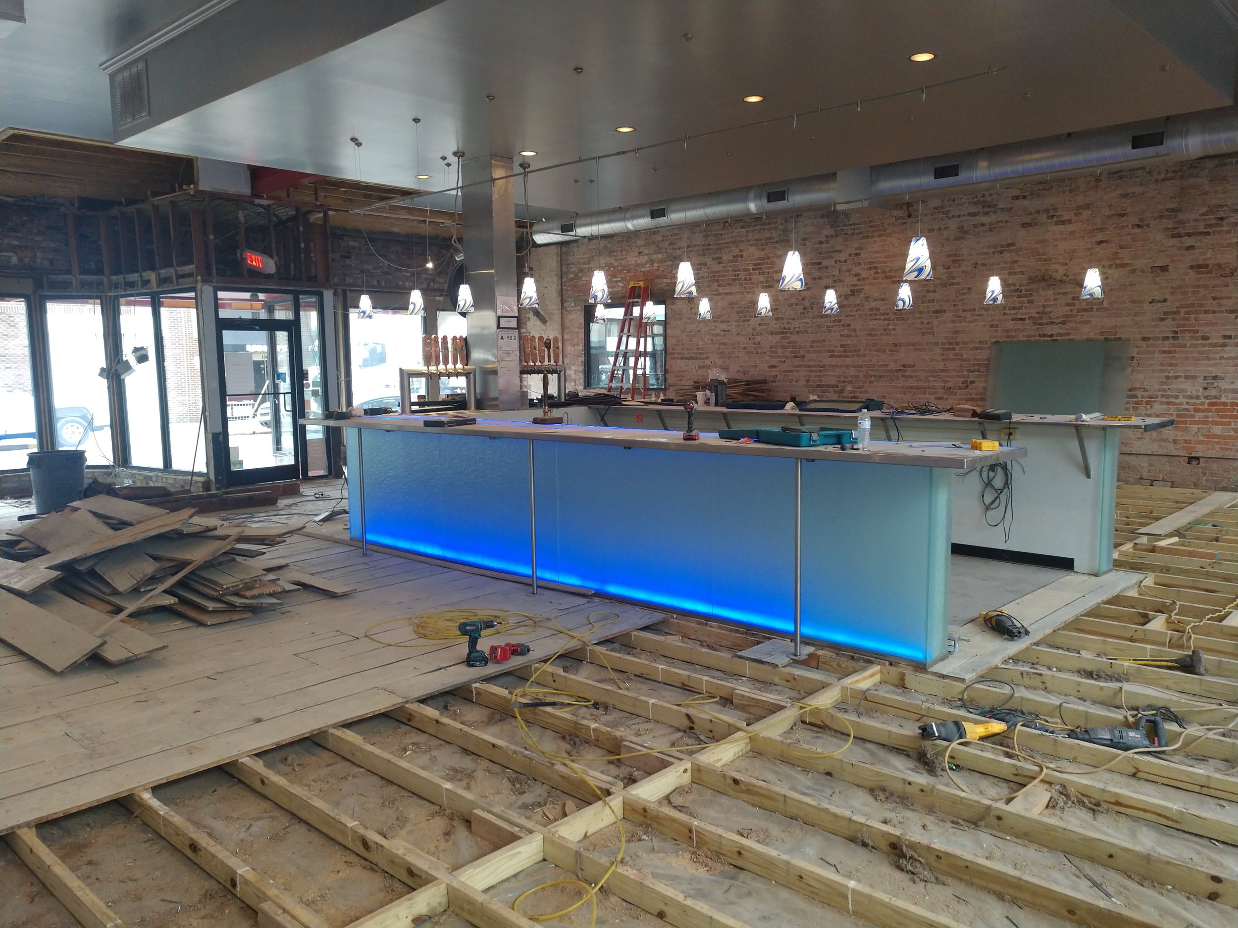 Mother Earth's Tap Room is undergoing renovations, with hopes of having everything operational for the public in early February. Photo by Junious Smith III / Neuse News