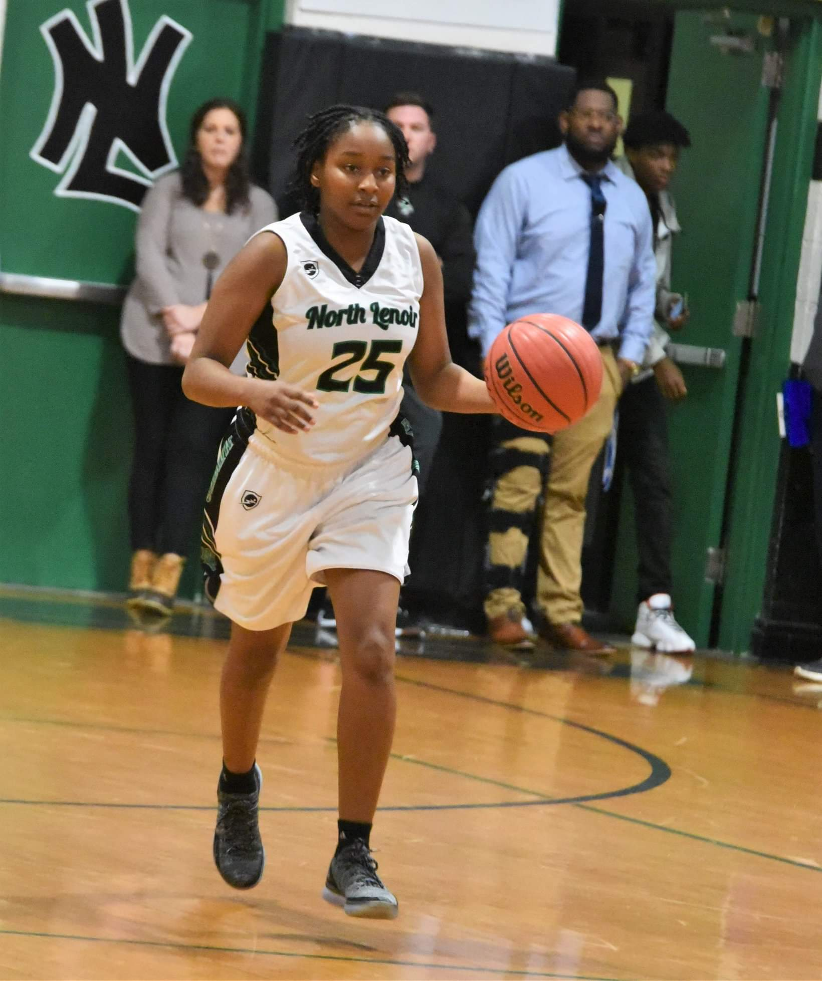 """North Lenoir's Ashanti Lynch brings the ball up court during the Hawks' win over Greene Central Friday. Photo by William """"Bud"""" Hardy / Neuse News"""