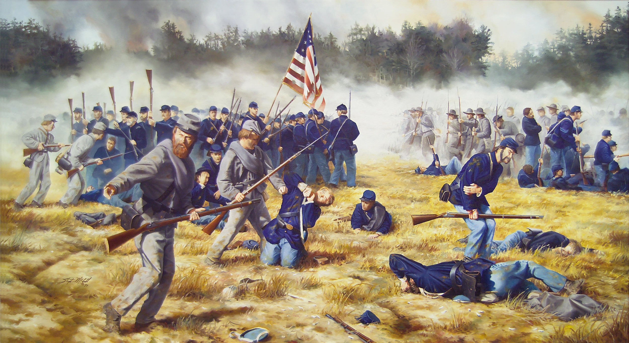 "McCall painting named the 'Surrender of the 15th Connecticut"" however part of that capture was also some of the soldiers from the 27th Massachusetts."