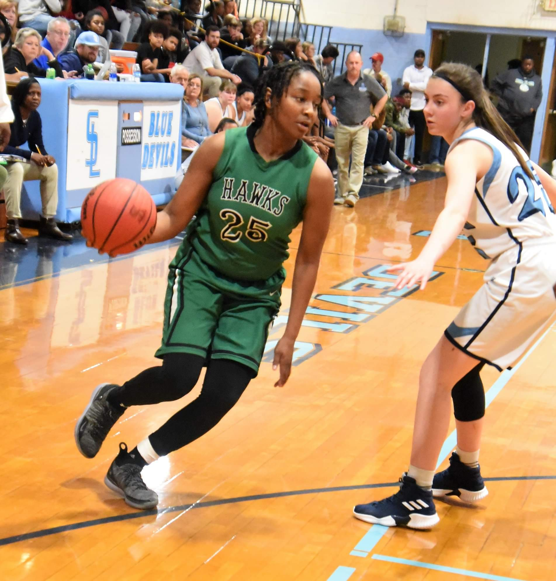 """North Lenoir's Ashanti Lynch drives as South Lenoir's Tiffany Croom defends during Thursday's contest. Photo by William """"Bud"""" Hardy / Neuse News"""