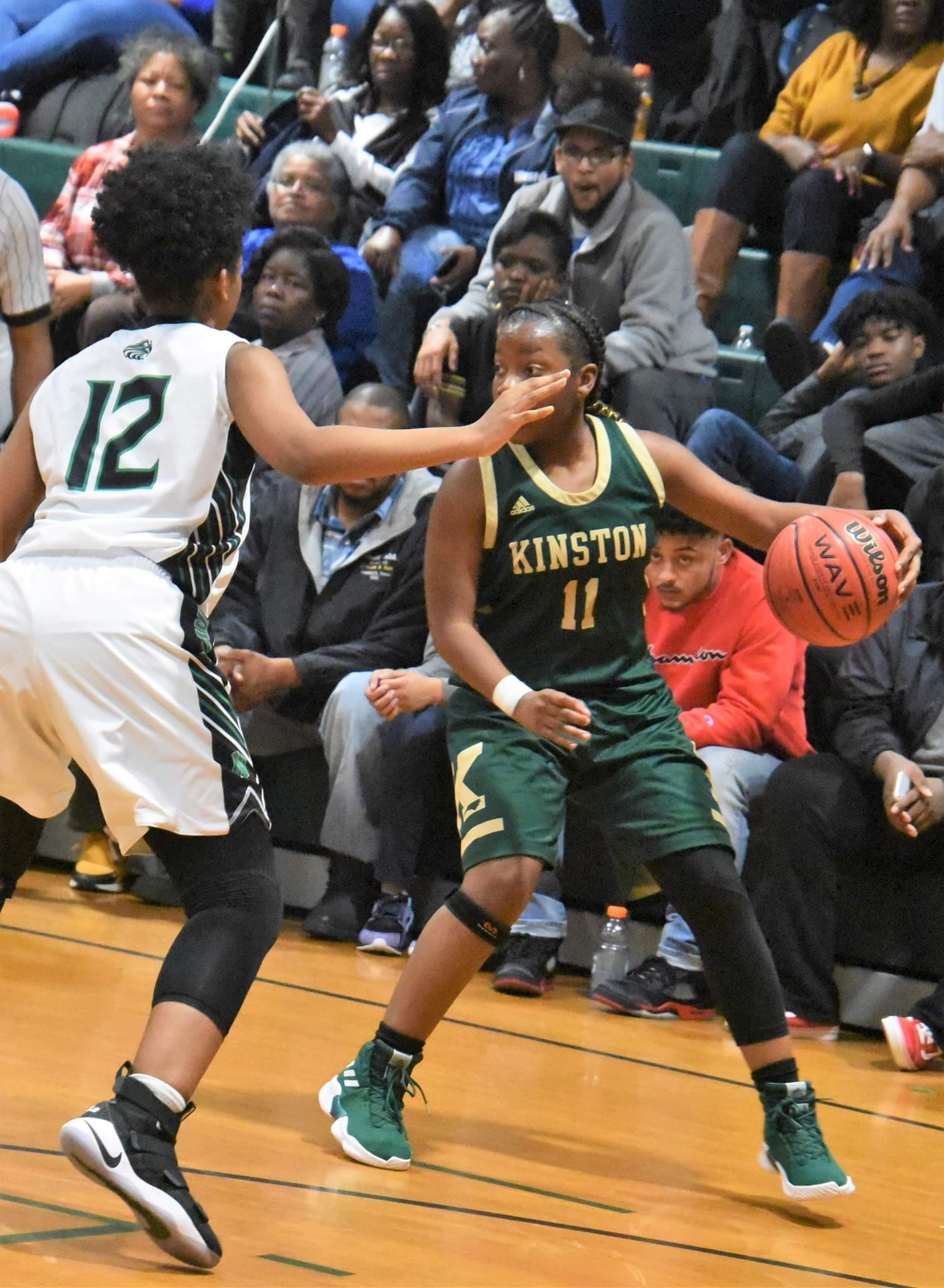 "Kinston's Michyla Dove scored 11 of her 13 points in the second half as the Vikings defeated North Lenoir Tuesday. Photo by William ""Bud"" Hardy / Neuse News"