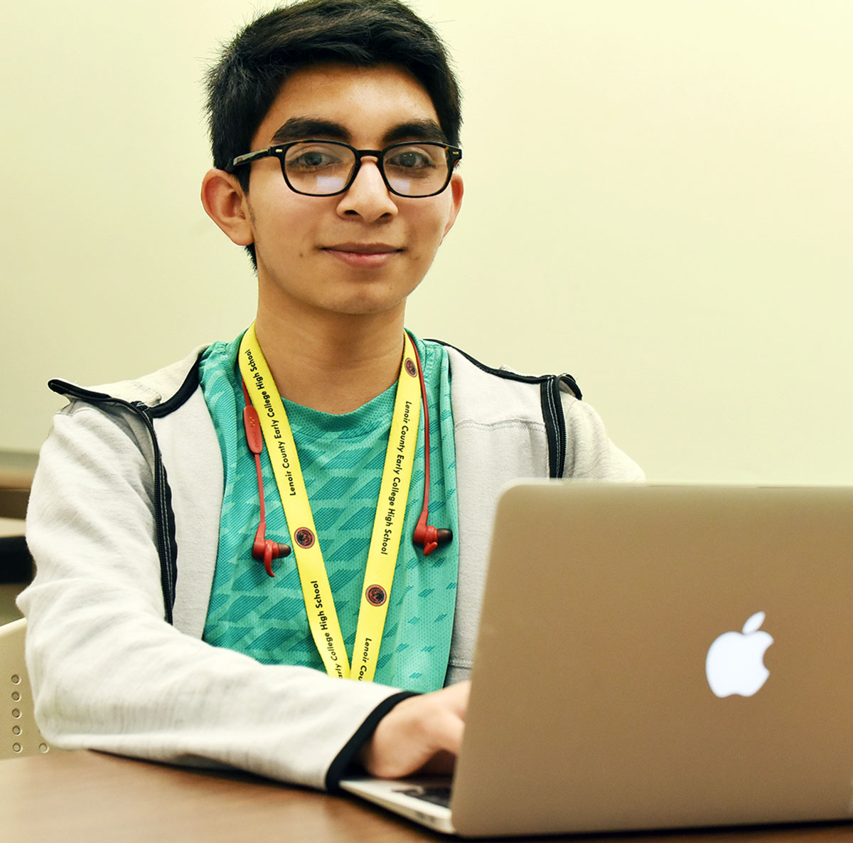 Moises Ramirez-Barron, in his second semester of coding instruction at Lenoir County Early College High School, will move into college-level coding classes next year as he prepares for a career as a computer engineer. Photo by Patrick Holmes / LCPS