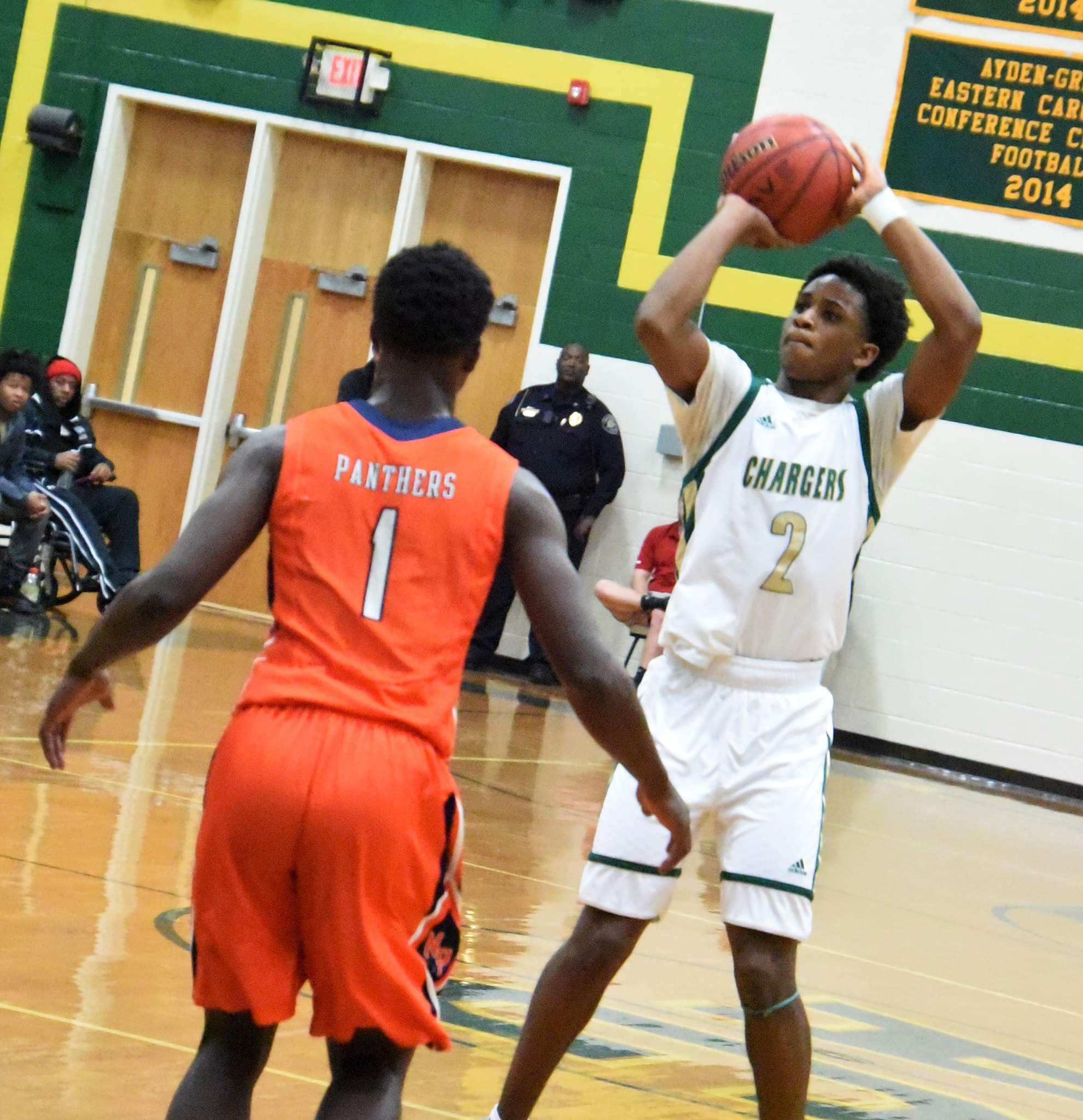Ayden-Grifton's James Richardson takes a shot in a game against North Pitt on Dec. 18. The Chargers are the fifth boys team to qualify for the NCHSAA playoffs from the ECC and received a No. 26 seed. Photo by William 'Bud' Hardy / Neuse News