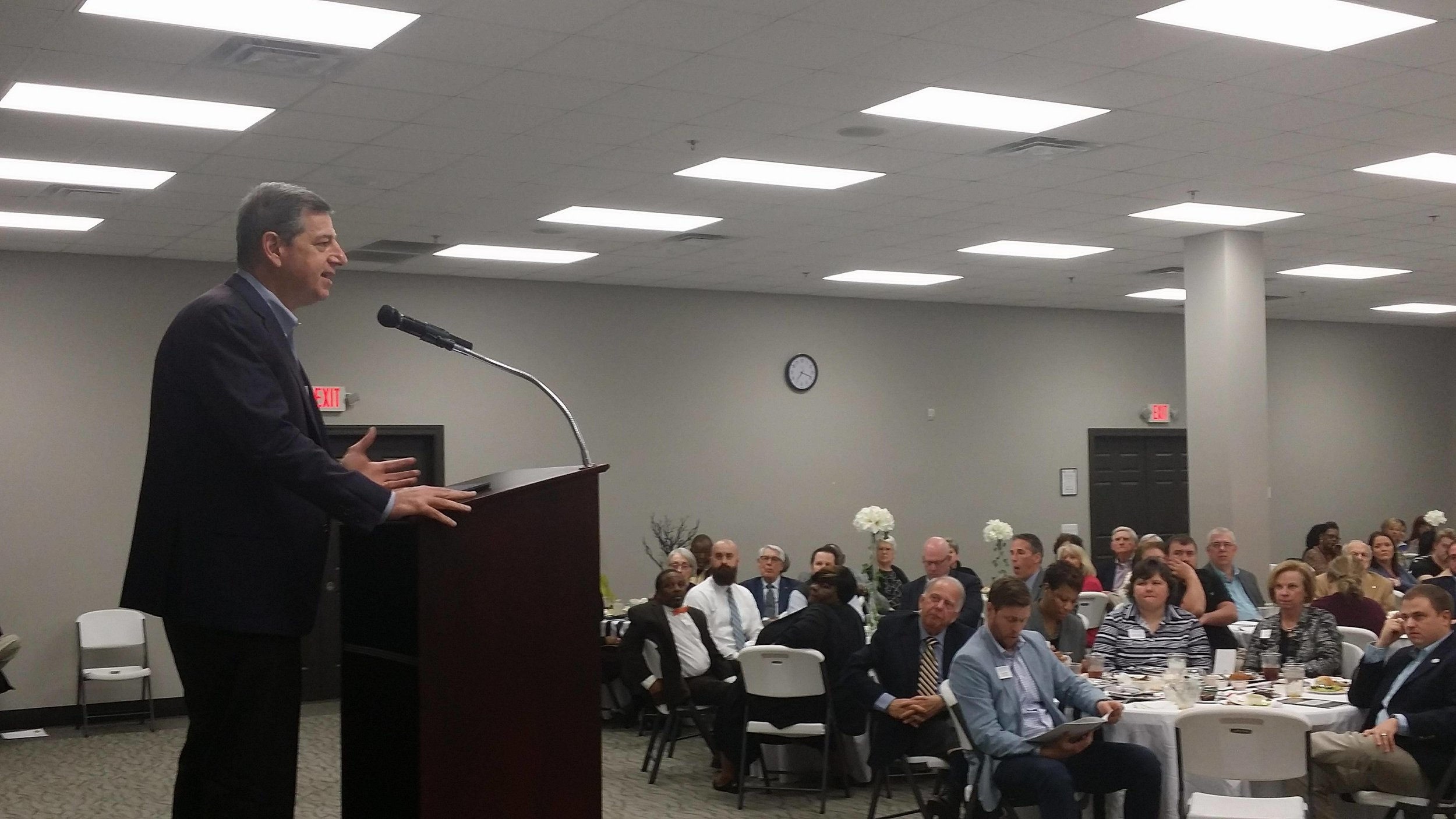 Bill Simon, former President and Chief Executive Officer of Walmart U.S., speaks at the La Grange event. Photo by Jon Dawson / Neuse News