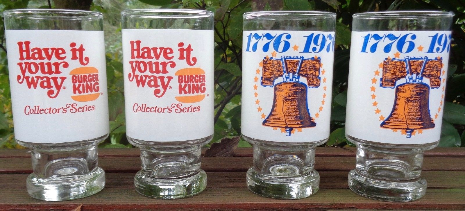 These collectible Burger King glasses are currently fetching prices on eBay that would cover one-third of the current cost of a Whopper combo meal. Image provided by eBay