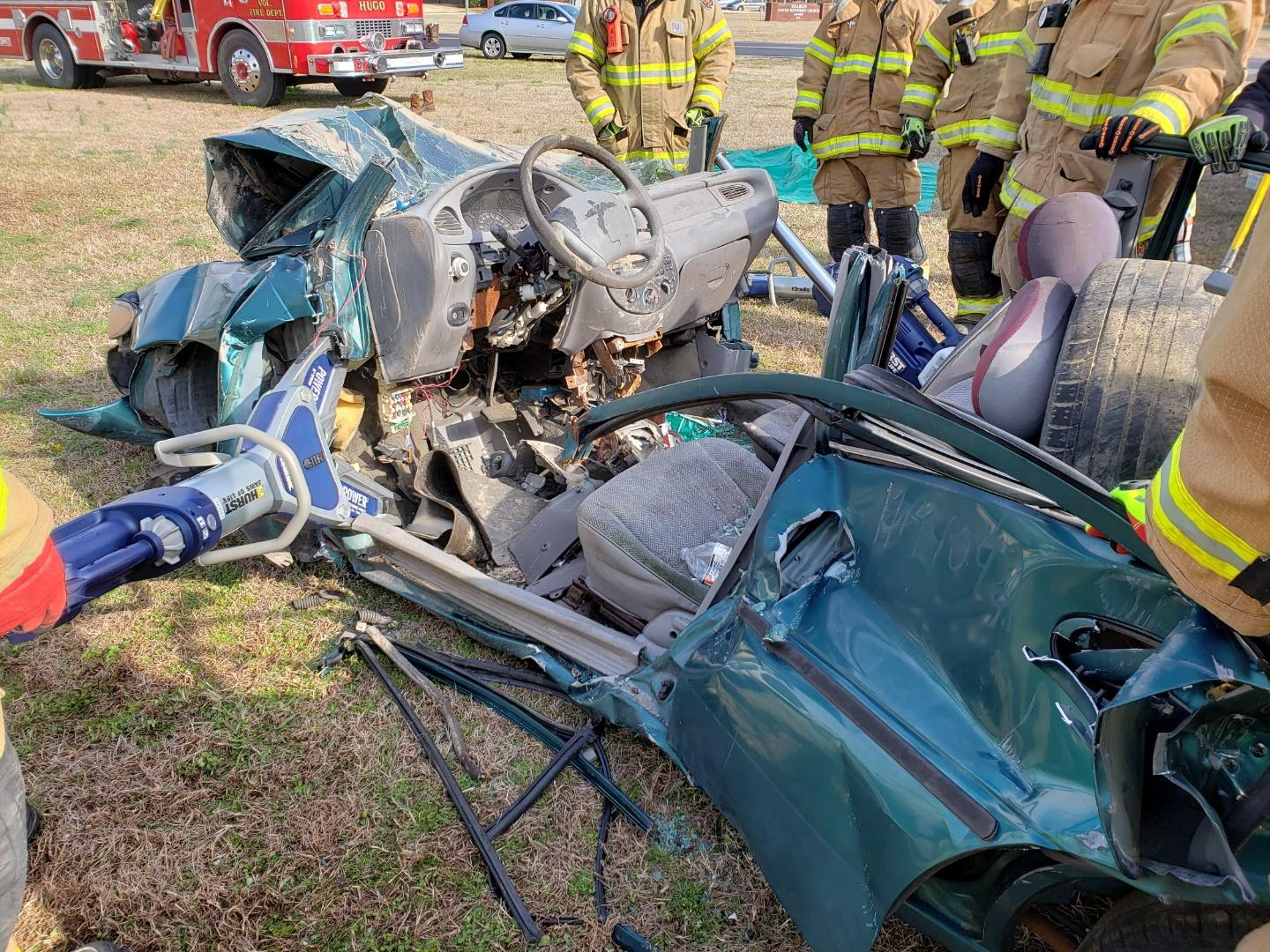 Local fire and rescue personnel learn about vehicle extrication techniques. Submitted Photo