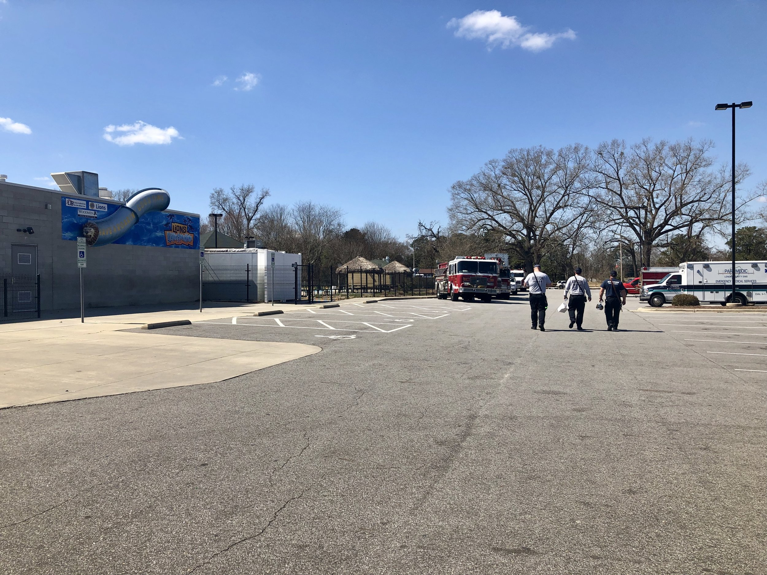Members of Kinston Fire and Rescue leave a luncheon at the Kinston Community Center Thursday. Photo by Catherine Hardee / Neuse News