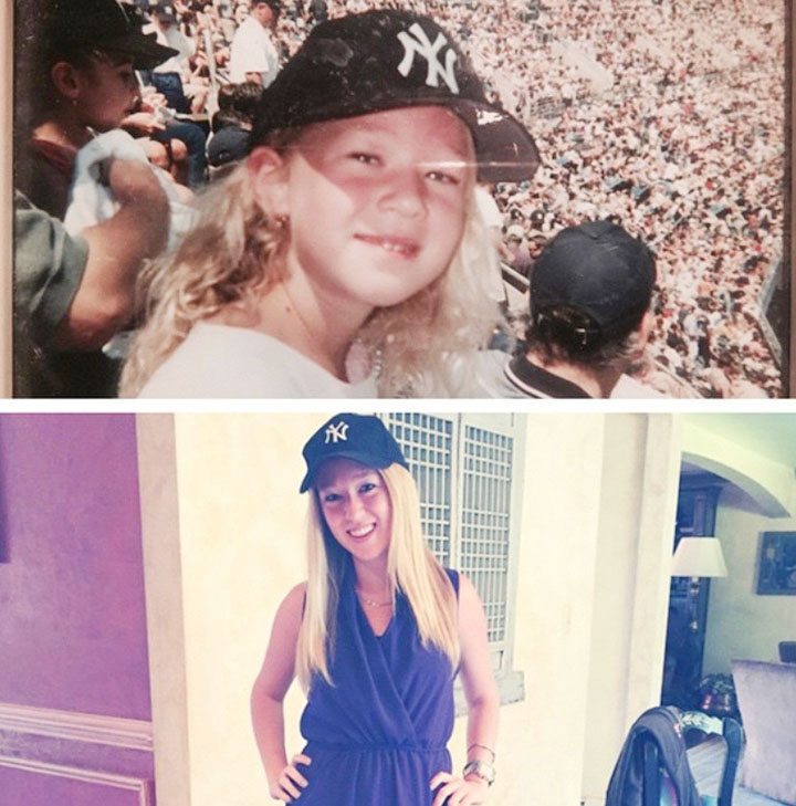 Above, 5-year-old Ariel Epstein at her first New York Yankees game. Below, her first day as an intern for the Yankees in 2015. Submitted photos