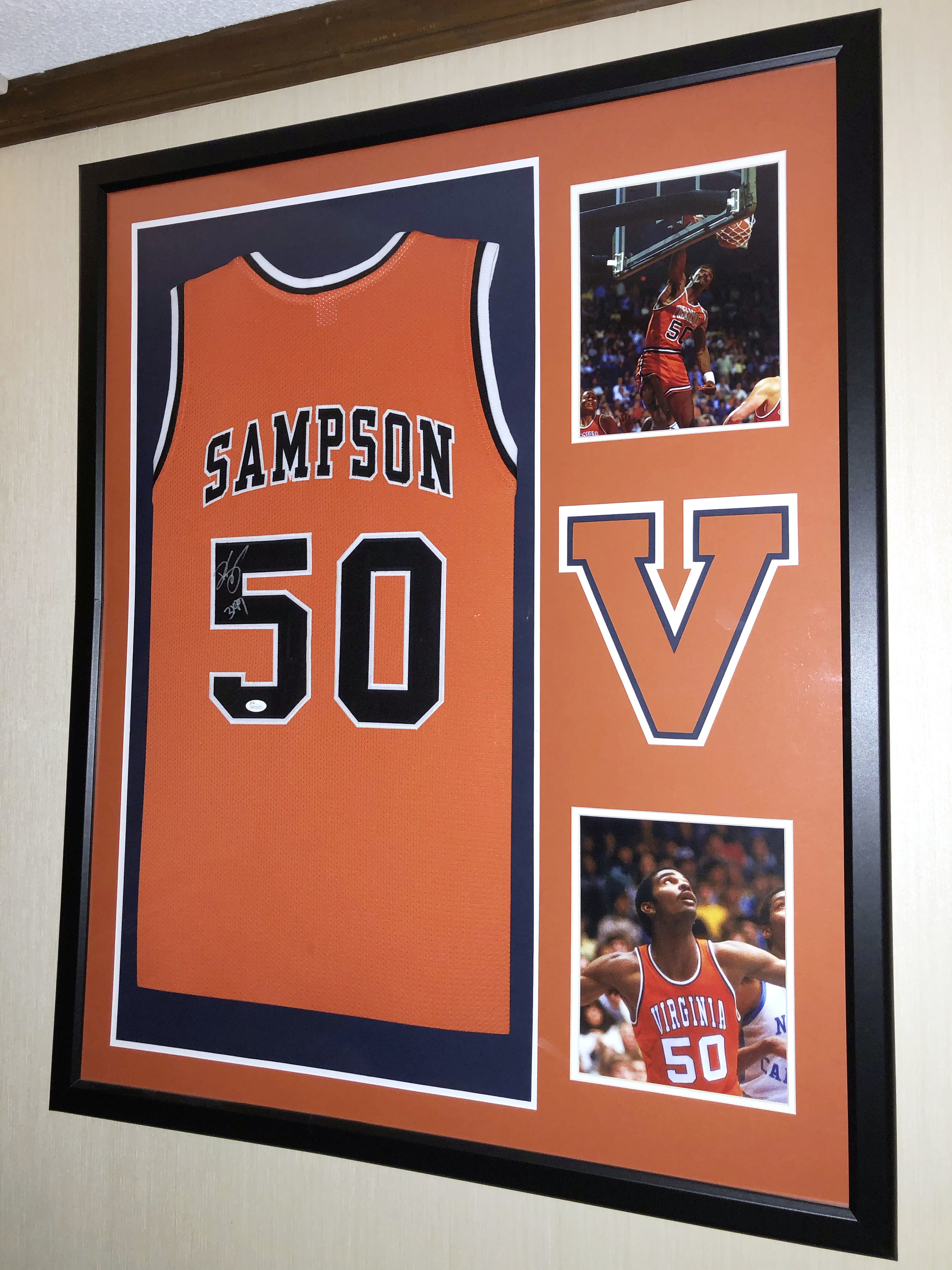 Bryan Hanks' autographed Ralph Sampson jersey still hangs proudly in his man cave. Photo courtesy of the writer