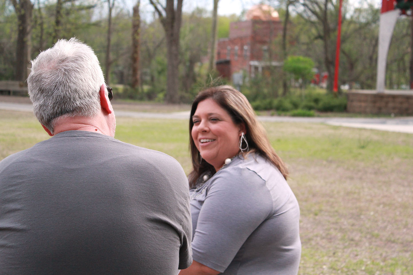 Katherine Pearson chats with a reporter Sunday at Pearson Park. Photo by Linda Whittington / Neuse News