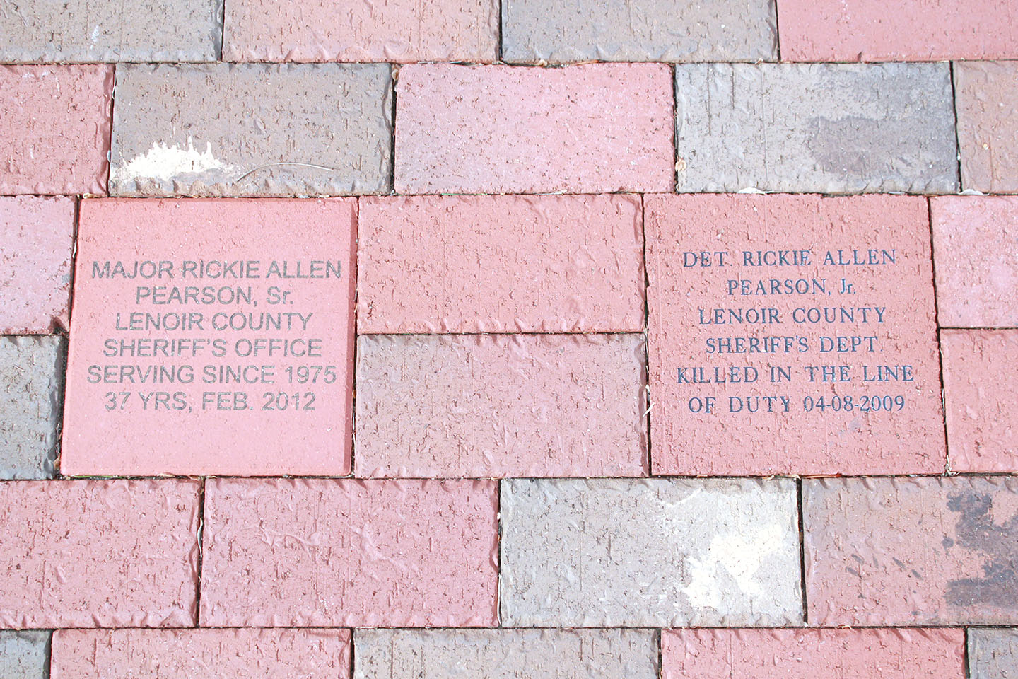 Bricks honoring Allen Pearson and his father, Rickie Pearson, are at Pearson Park. Photo by Linda Whittington / Neuse News