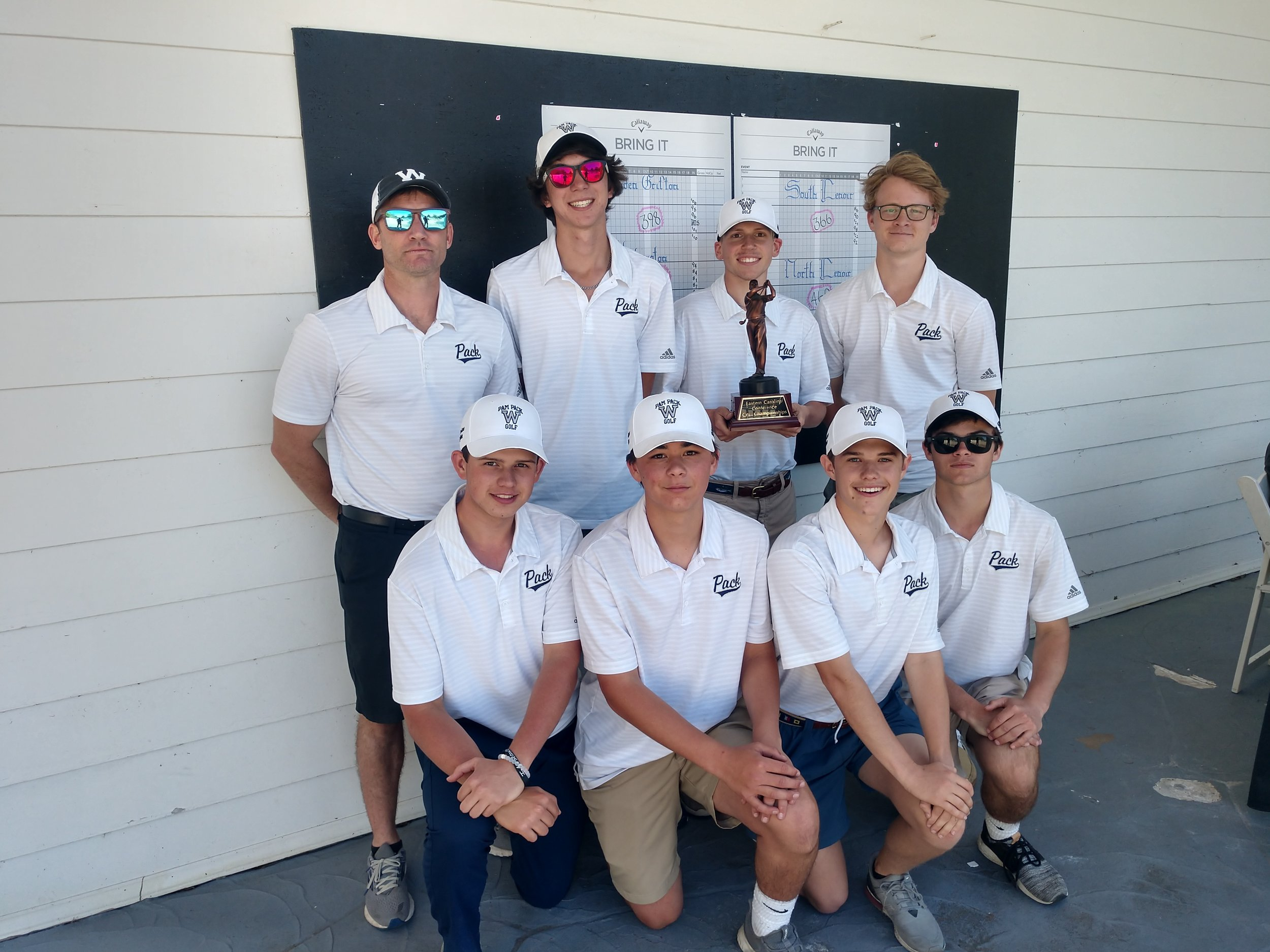 Washington won the ECC Golf Championship Monday at Kinston Country Club. The team consists of, front row from left: John Heasley, Gray West, Tucker Davis, Graham Parker; back row from left: Coach Jimmy Kozuch, Jackson Cournoyer, Jackson Paul and Patrick Lovenburg. Photo by Junious Smith III / Neuse News