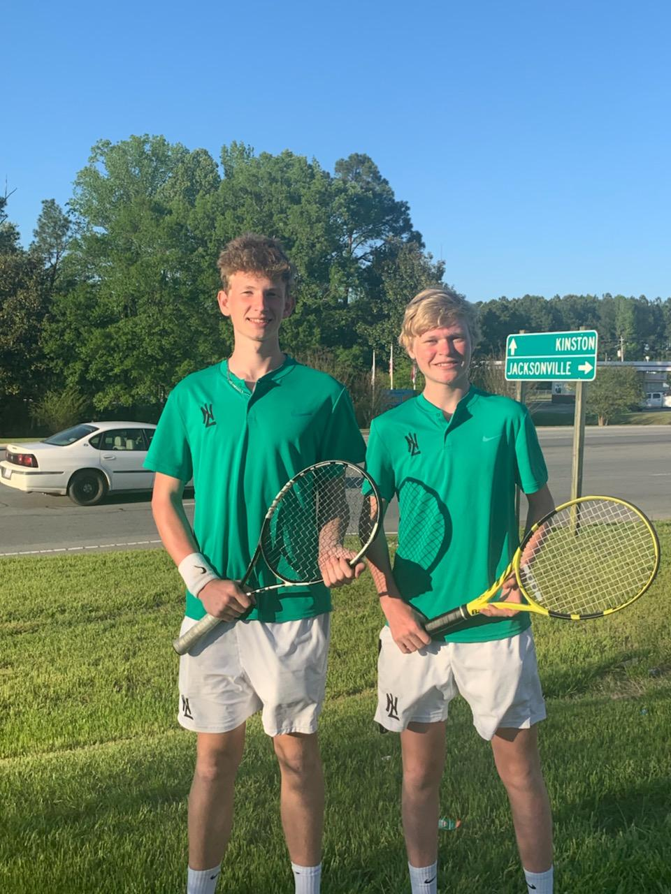 North Lenoir's Freddie Mielke, left, and Matthew Riddick finished second in the ECC championships, and will represent the Hawks in the regional qualifier in doubles. Submitted photo