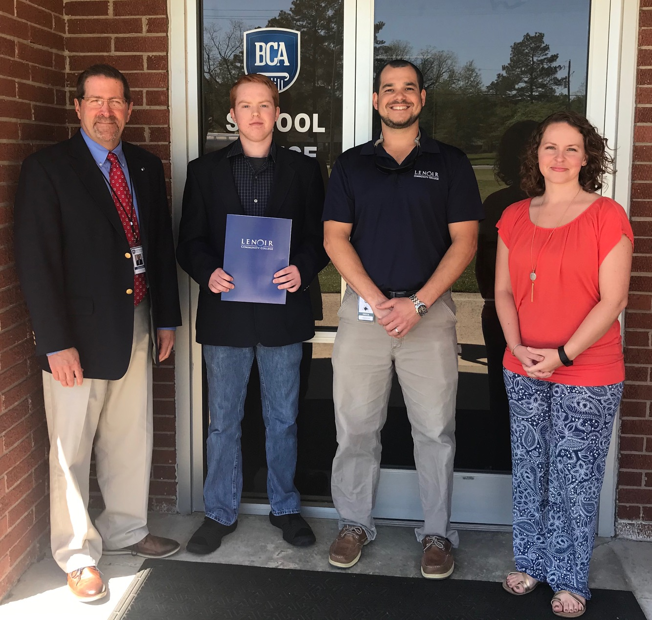 From left are Bethel Christian Academy Principal Doug Phillips; BCA awardee Coleman Hill, Industrial Systems Technology; LCC Industrial Systems Program Chair Stephen Edwards; and BCA Counselor Samee Jo Miller.