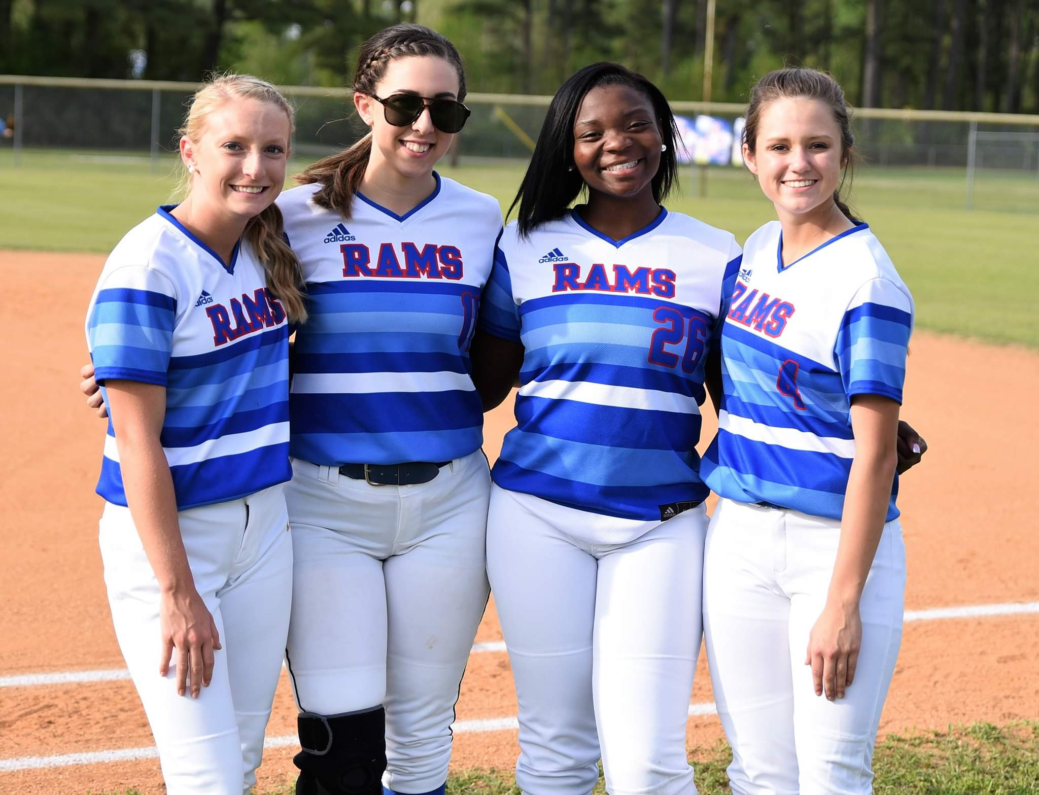 Greene Central's seniors, from left, Katelin Uzzell, Allison Wade, Elexie Sutton and Madison Holloman, have compiled a 65-21 record over the past four years, including a conference championship in 2017. Photo by William 'Bud' Hardy / Neuse News