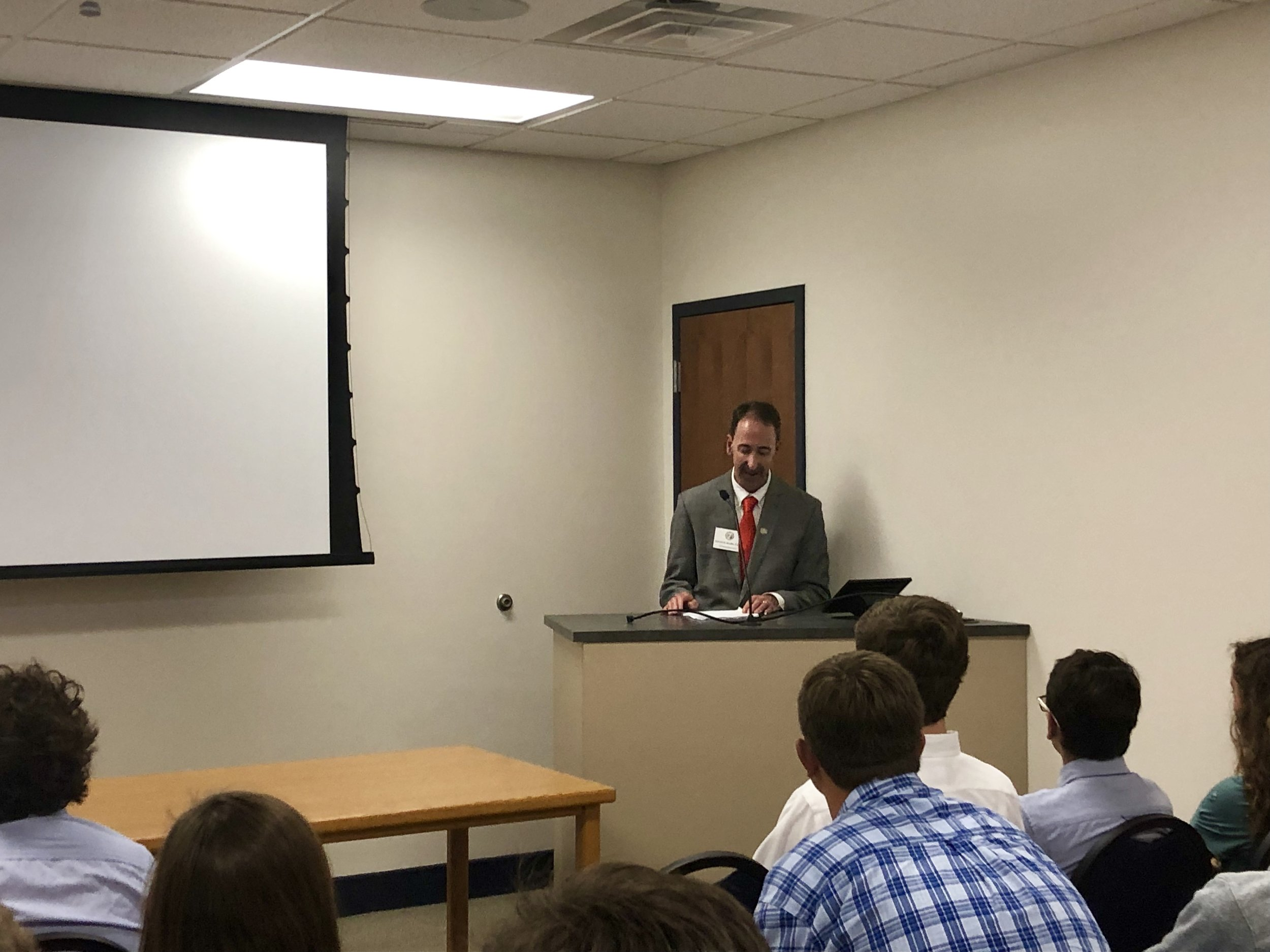 Associate Justice Mark Davis of the N.C. Supreme Court speaks to students at Arendell Parrott Academy Tuesday afternoon. Photo by Catherine Hardee / Neuse News