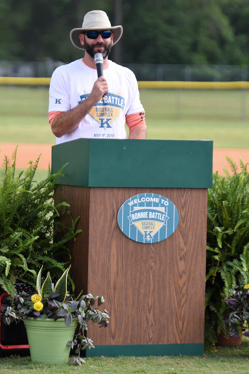 Former Major League Baseball player Chris Hatcher speaks at Saturday's ceremony. Photo by William 'Bud' Hardy / Neuse News