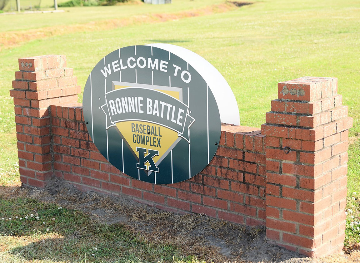 This is the new sign that welcomes fans to the Kinston High School baseball field. Photo by William 'Bud' Hardy / Neuse News