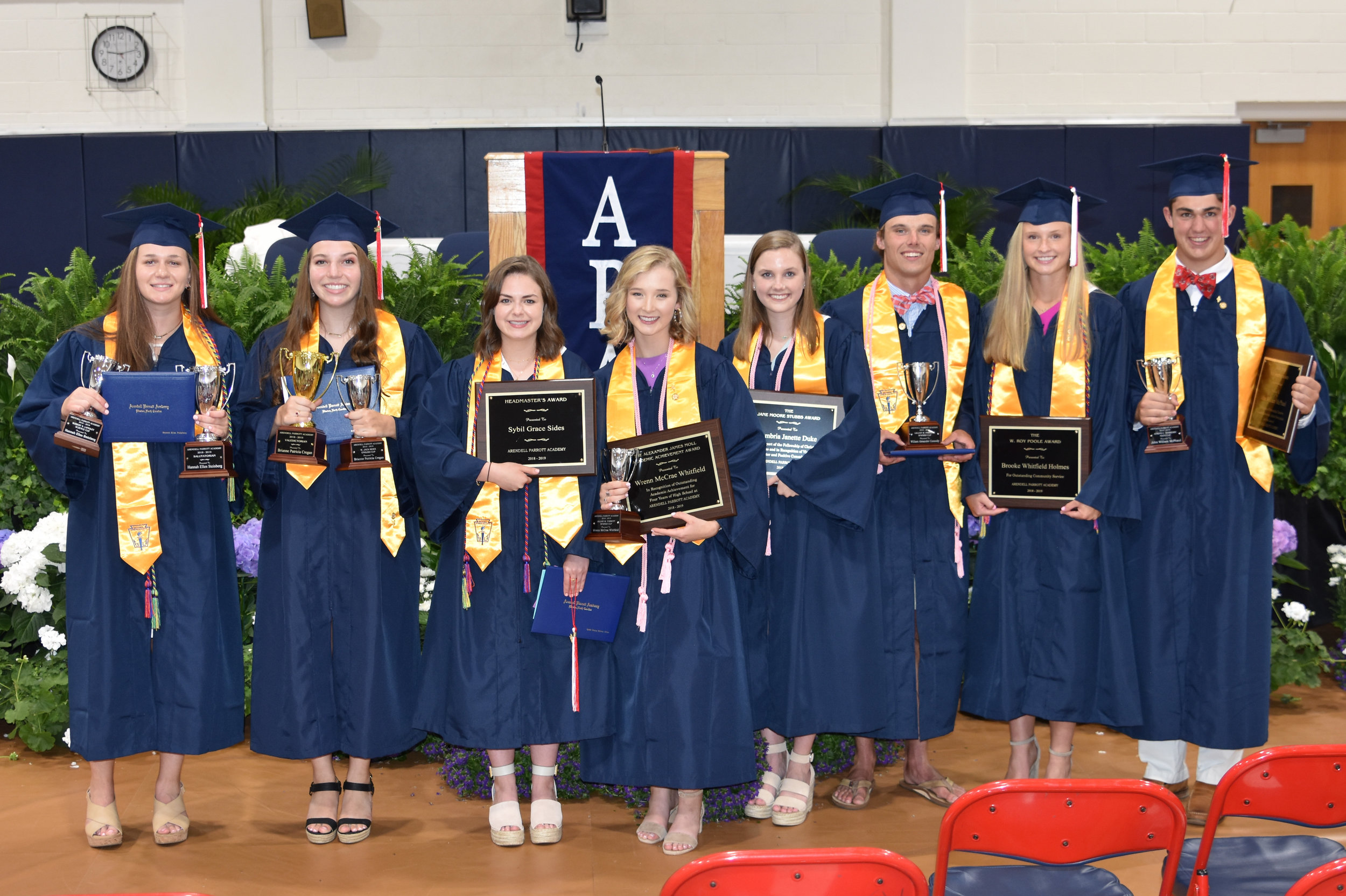 Parrott Academy graduation award winners (left to right) Hannah Steinberg, Brianne Cregan, Sybil Sides, William McPhaul, Cambria Duke, Will Connolly, Brooke Holmes, and William McPhaul.