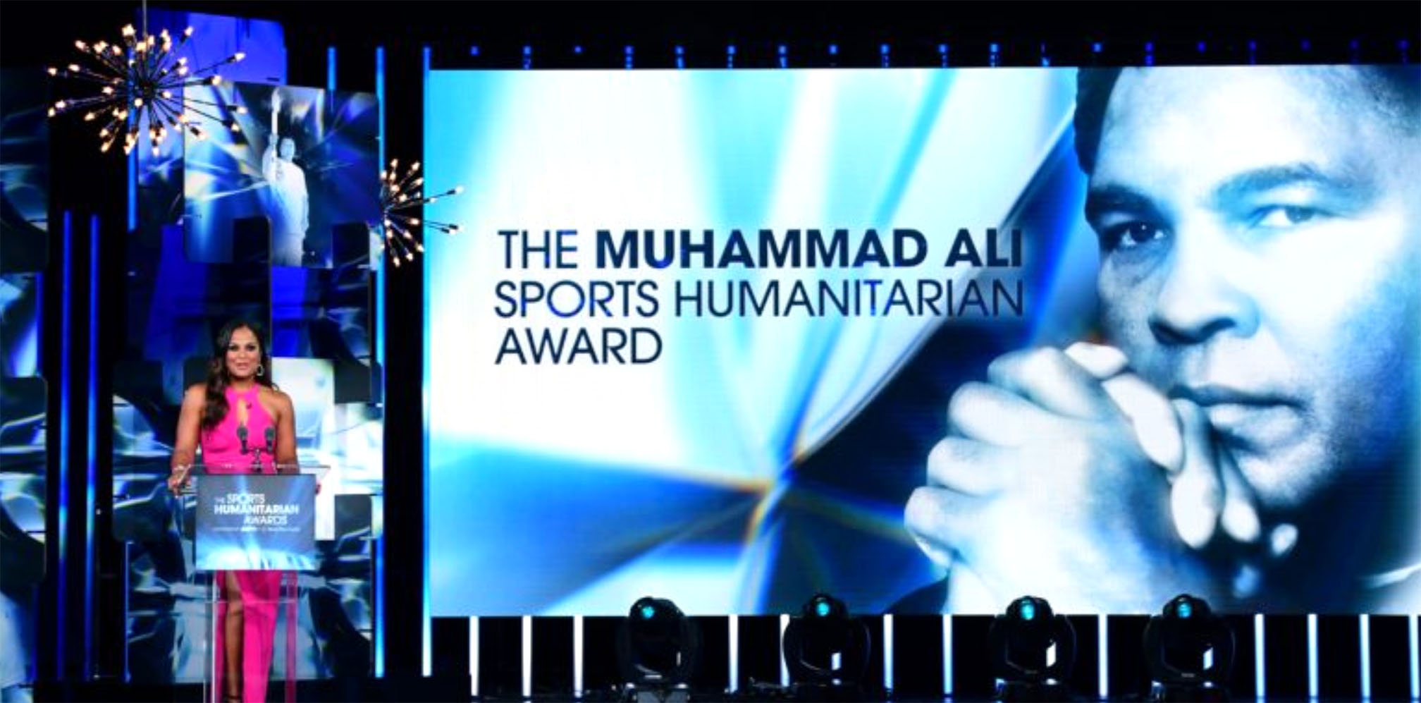 Laila Ali speaks during the Muhammad Ali Sports Humanitarian of the Year Awards presented by ESPN in 2017. Photo courtesy ESPN Press Room